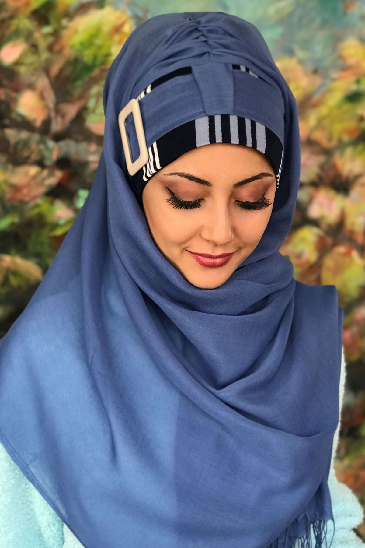 Mavi Tokalı Ekose Desenli Koton Hazır Şal