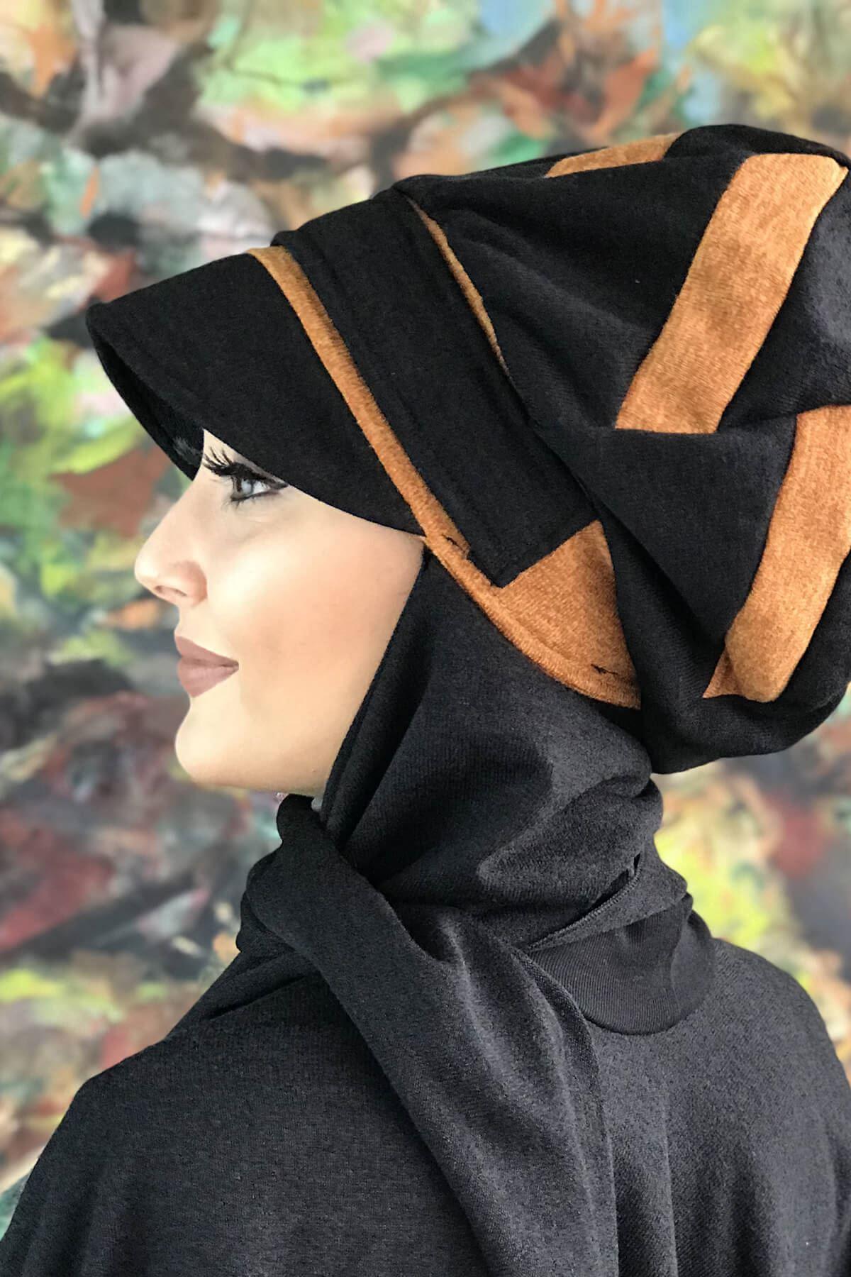 Kehribar Şerit Detaylı Siyah Atkılı Tokalı Şapka Şal