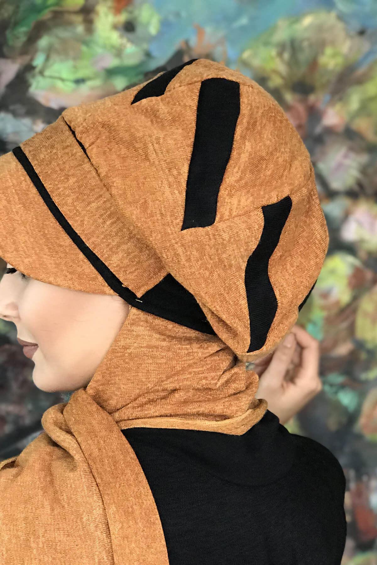 Ayçiçeği Renkli Siyah Şerit Detaylı Atkılı Şapka Şal
