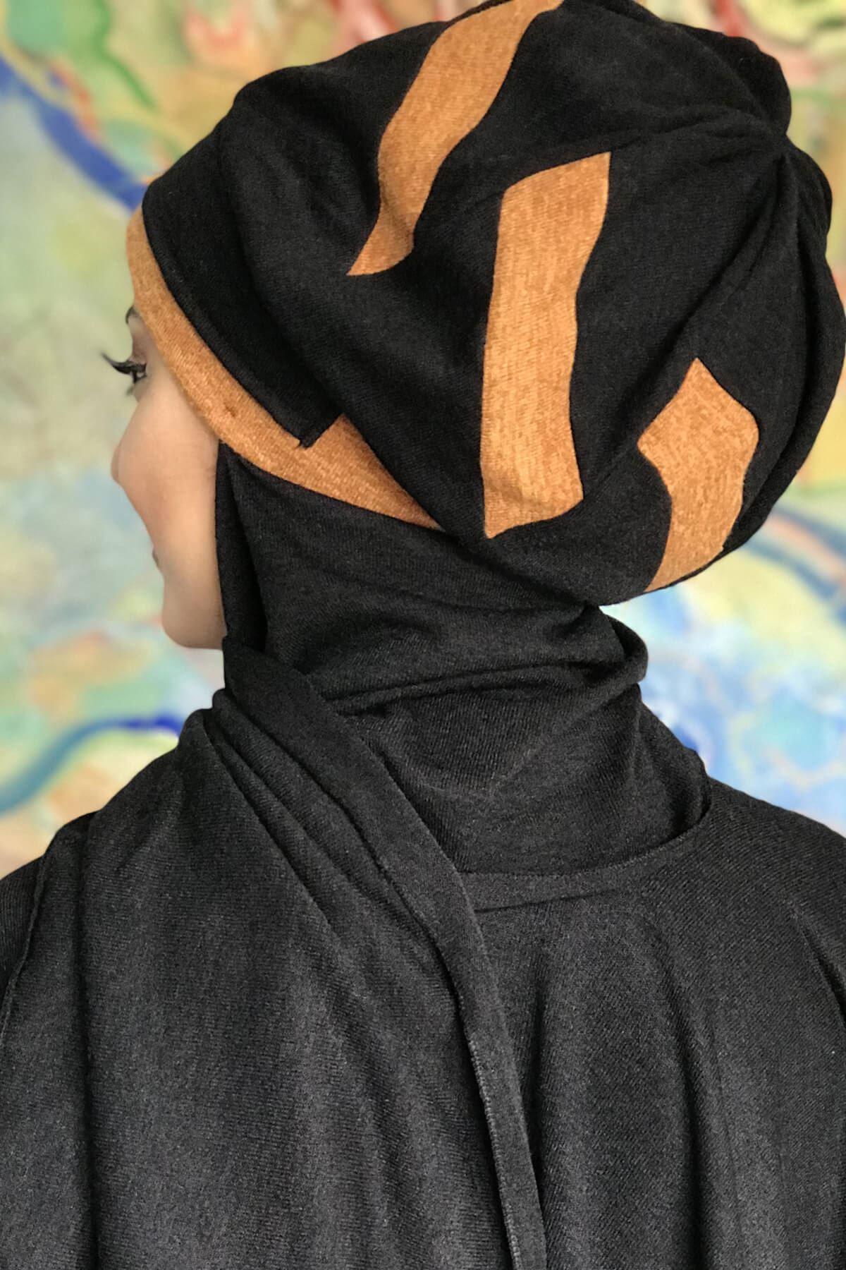 Siyah Çarkıfelek Model Okra Sarısı Hazır Şal