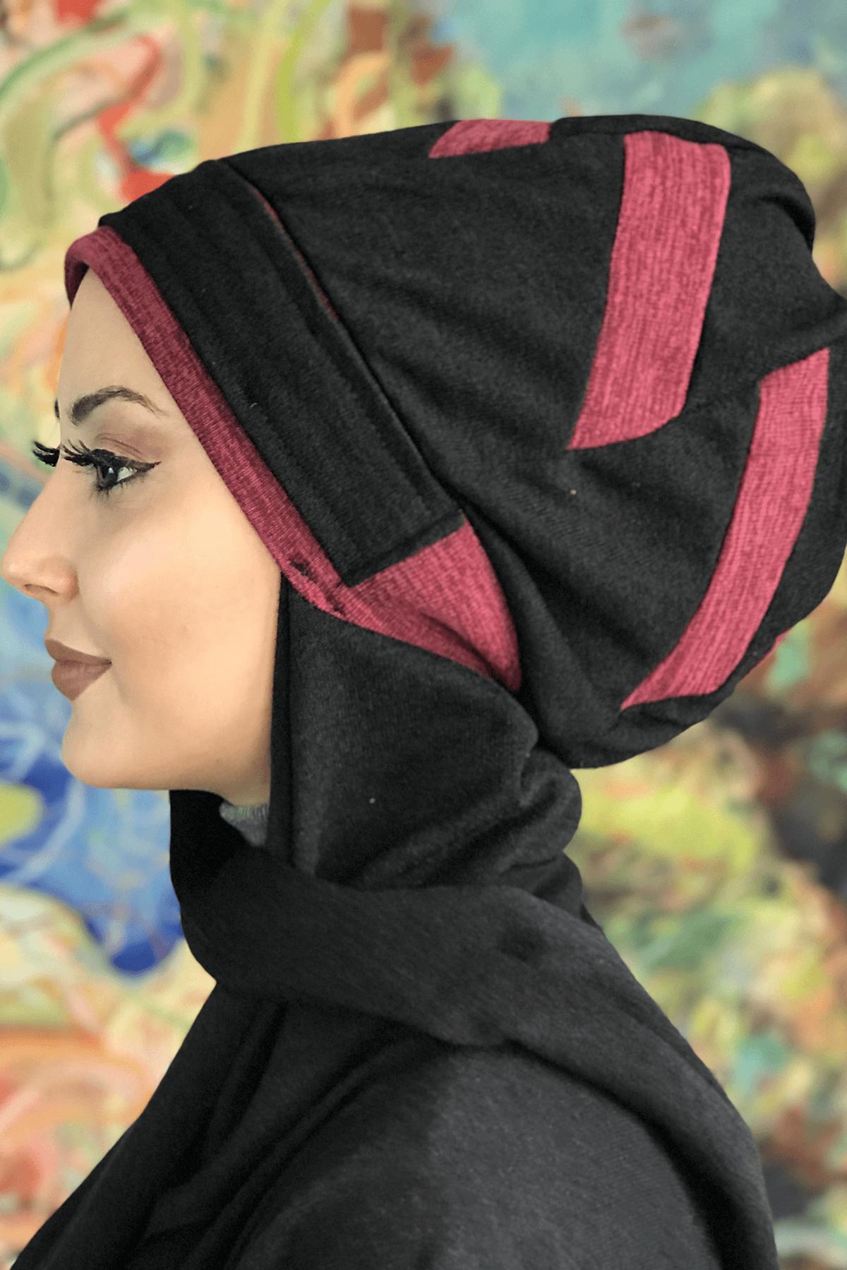 Siyah Çarkıfelek Model Vişne Şeritli Tokalı Bere Şal
