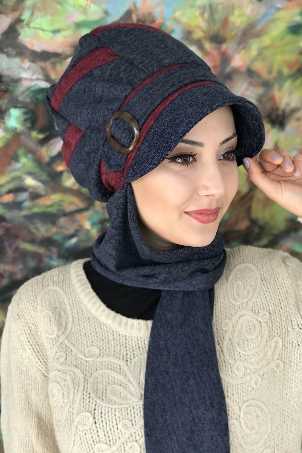 Lacivert Çarkıfelek Model Bordo Şeritli Tokalı Şapka Şal