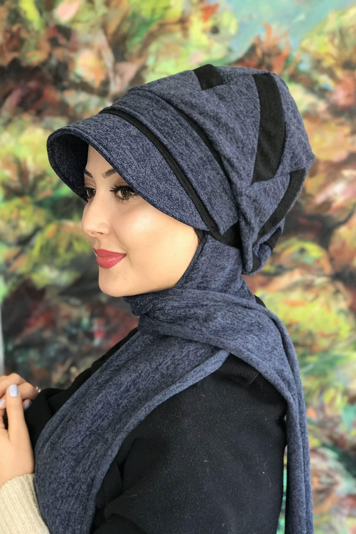 Prusya Mavisi Rengi Tokalı Atkılı Siyah Şeritli Şapka