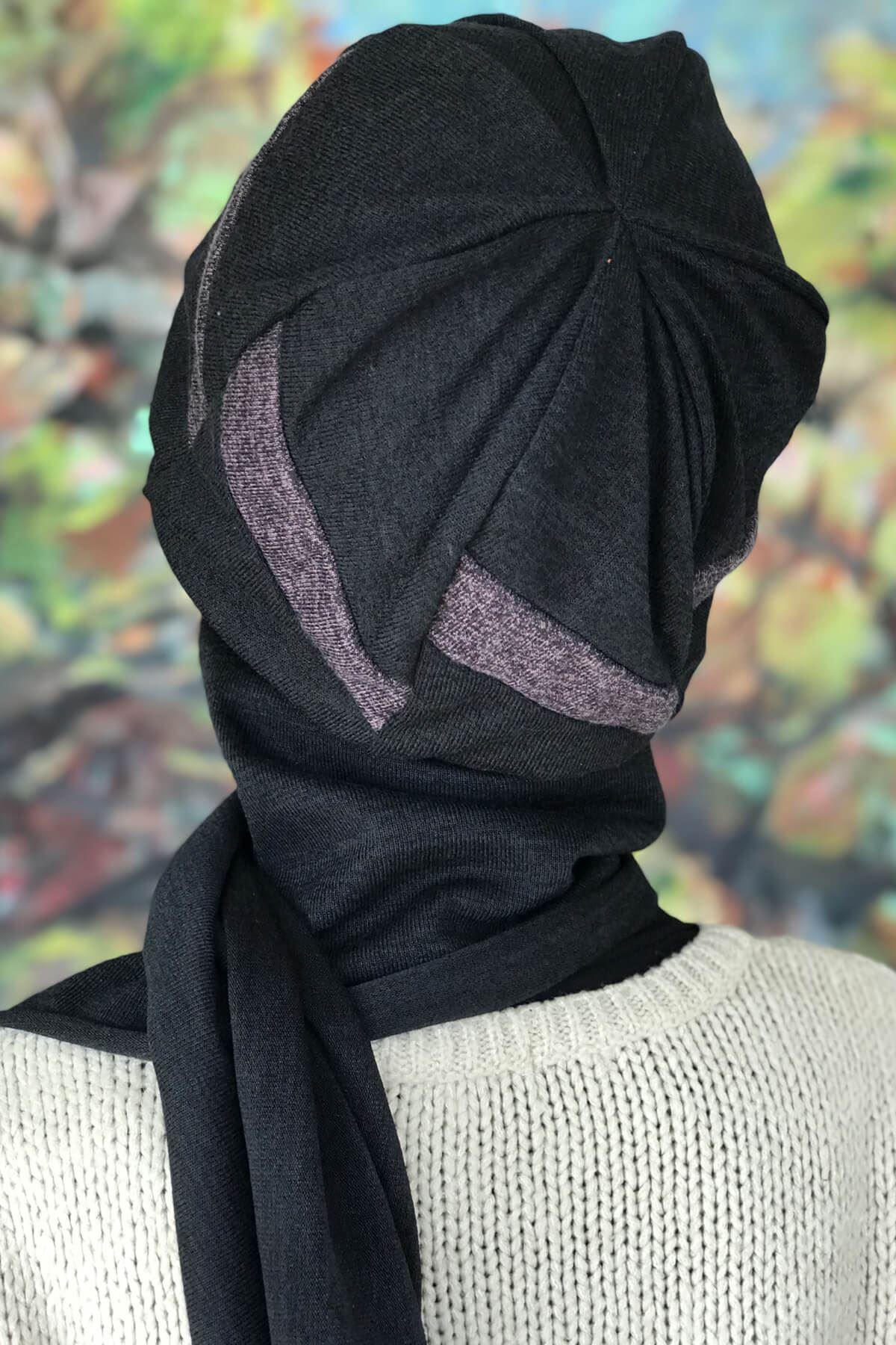Siyah Tokalı Atkılı Küllü Mor Renkli Bere