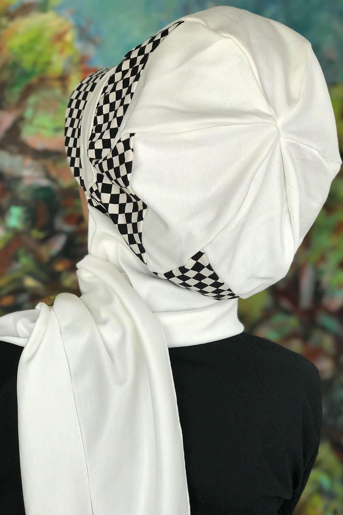Bad-ı Saba Beyaz Damalı Çarkıfelek Tokalı Beyaz Atkılı Şapka