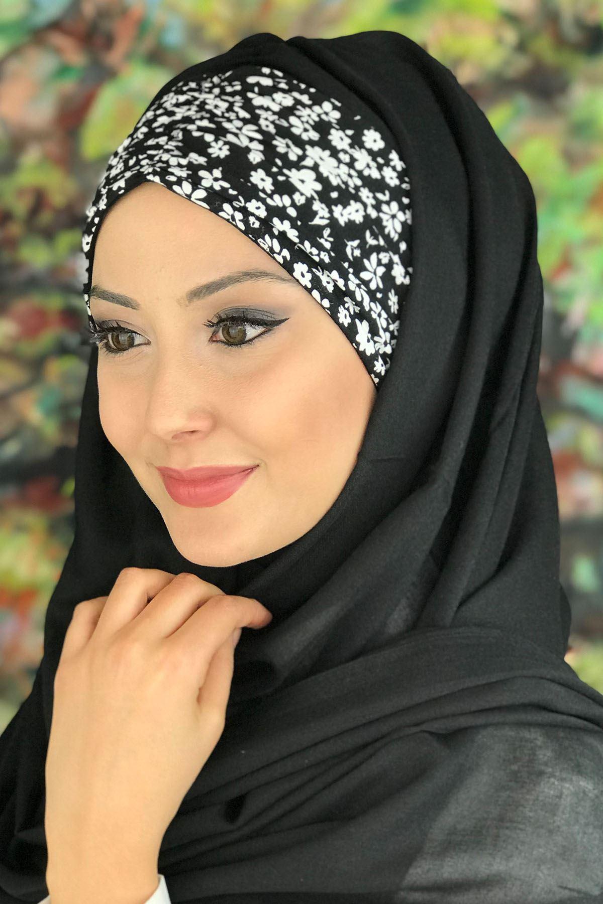 Sayf Model Siyah Renkli Beyaz Çiçekli Büzgülü Hazır Şal