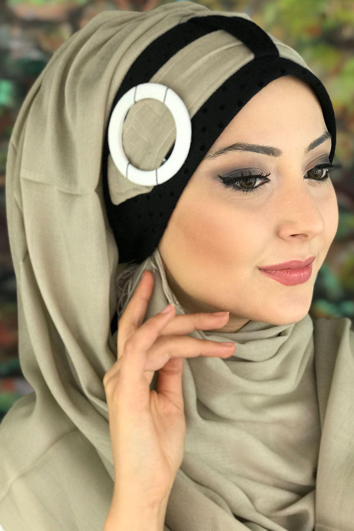Sayf Model Bej Renkli Tokalı Kemerli Hazır Şal
