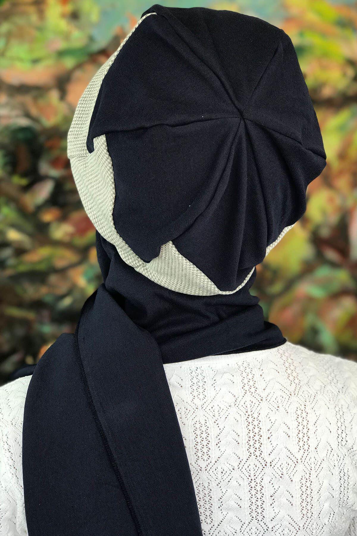 Gri Kazayağı Lacivert Çarkıfelek Model Tokalı Lacivert Atkılı Şapka Şal