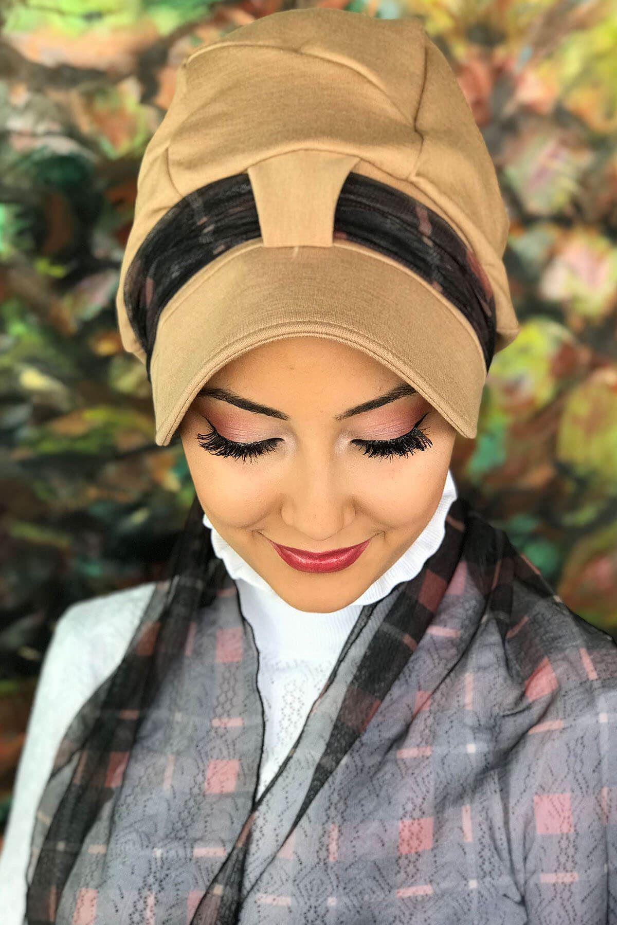 Devetüyü Renkli Tek Biritli Tül Atkılı Şapka