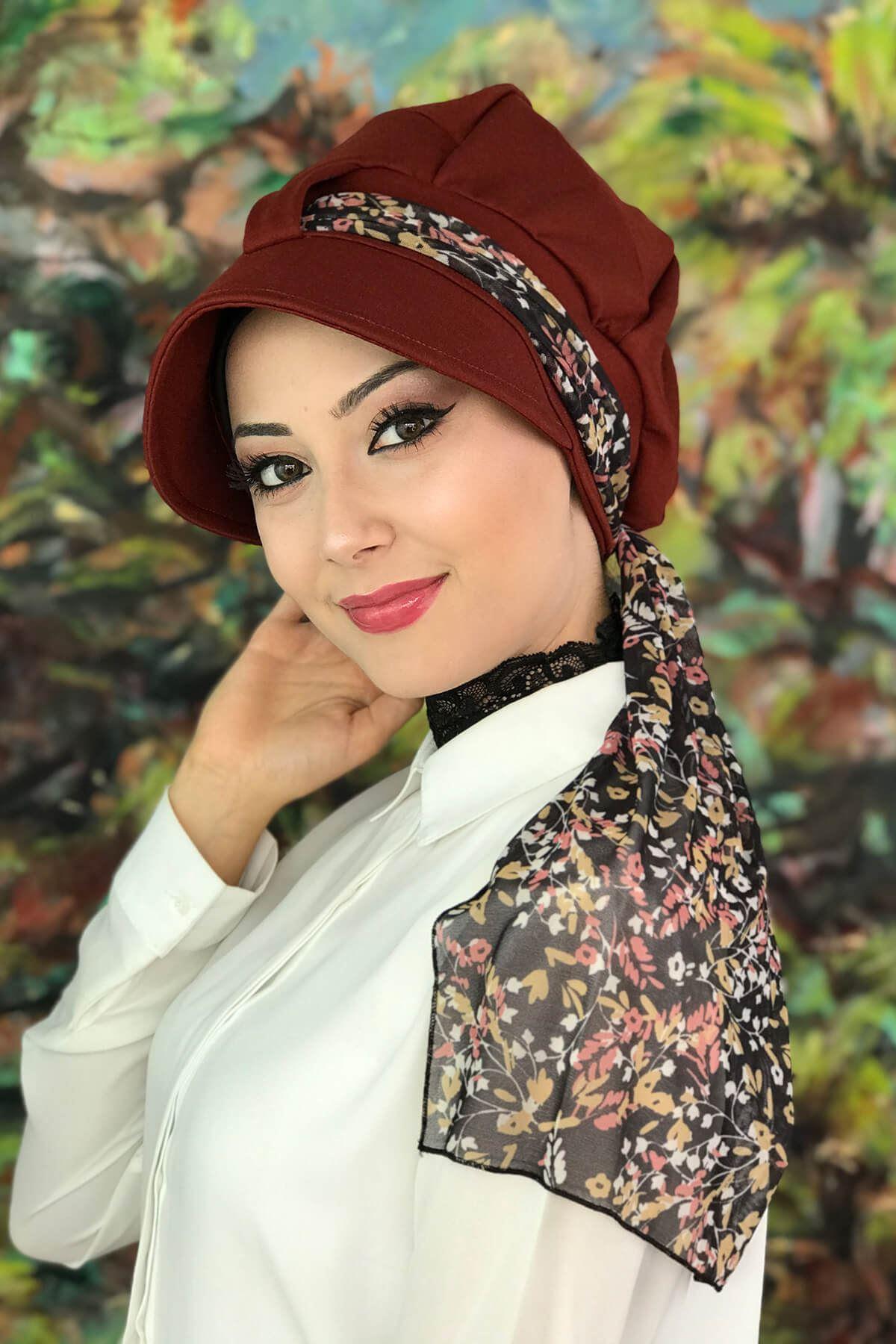Bordo Renkli Tek Biritli Çiçekli Fularlı Şapka