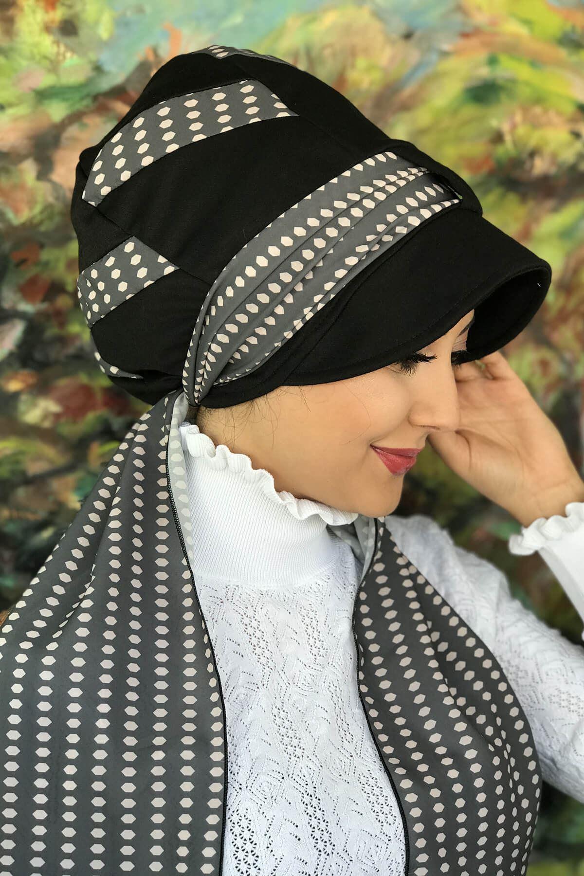 Siyah Desenli Tek Biritli Fularlı Şapka