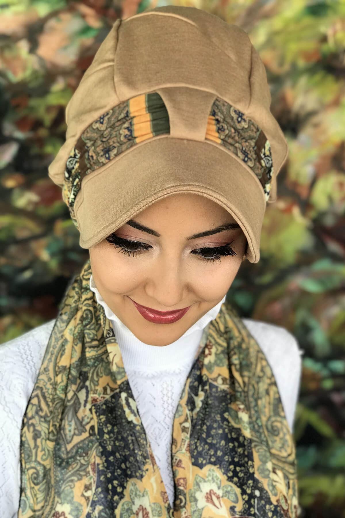 Toprak Rengi Tek Biritli Fularlı Şapka