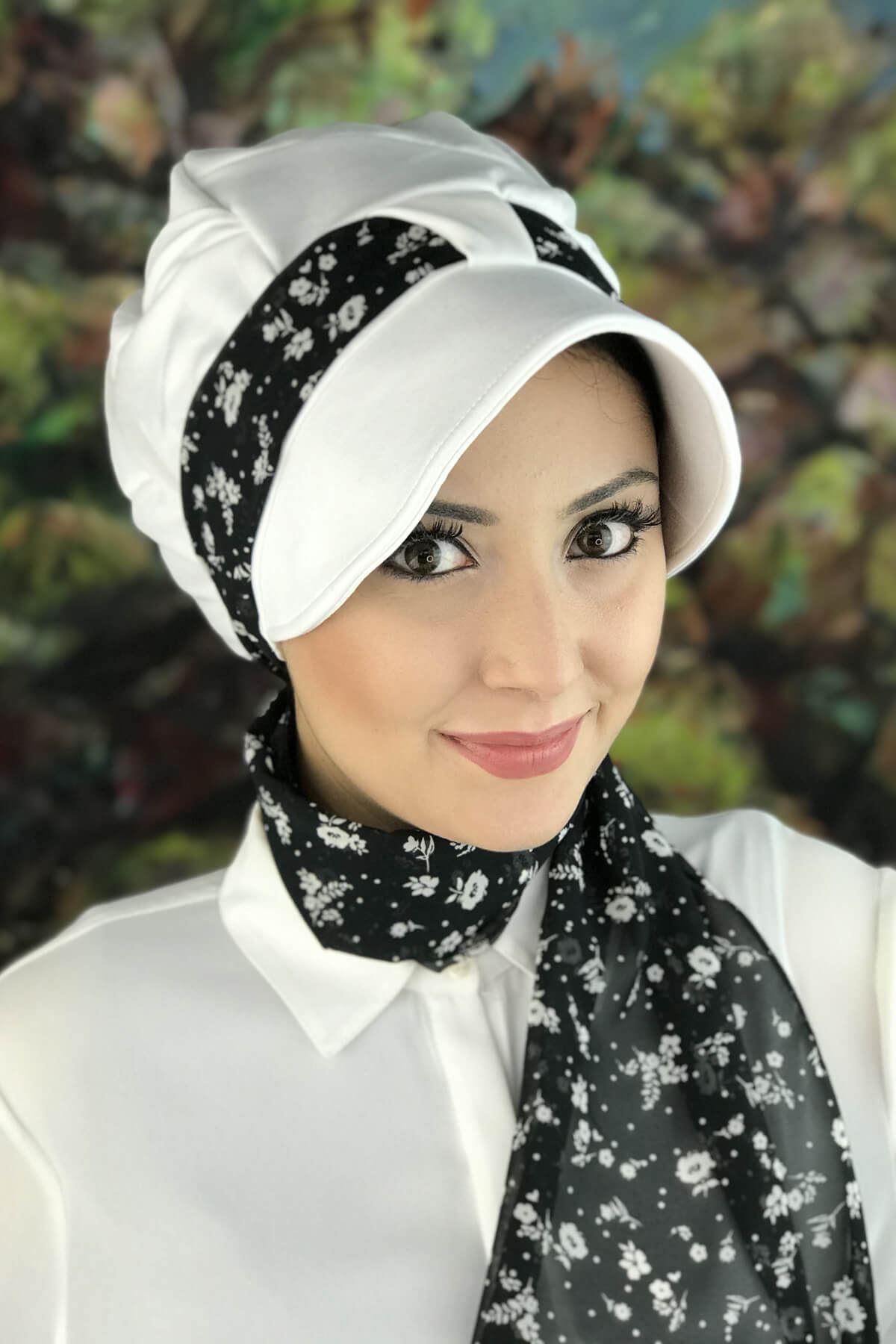 Beyaz Tek Biritli Fularlı Şapka