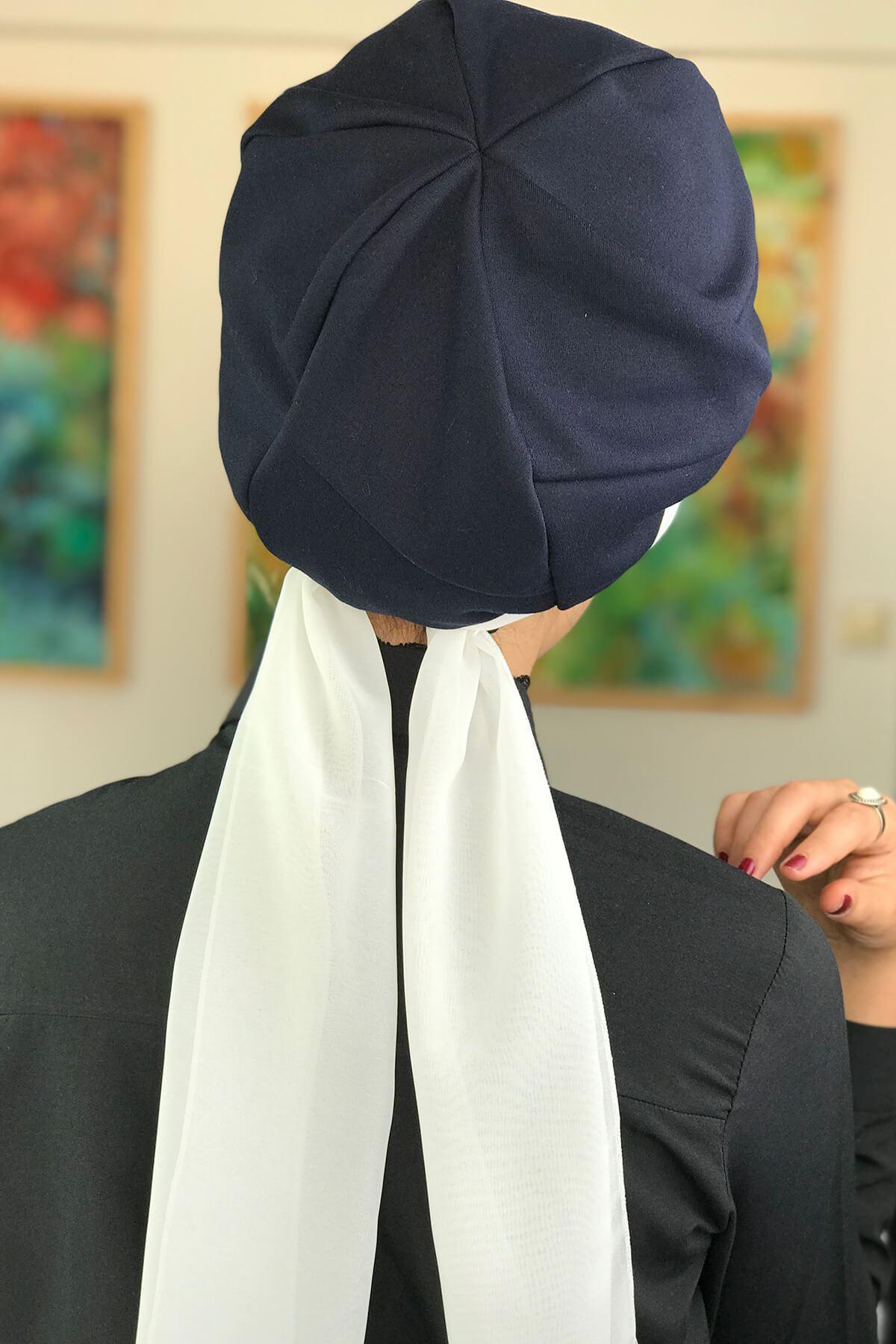 Koyu Lacivert Tek Biritli Fularlı Şapka