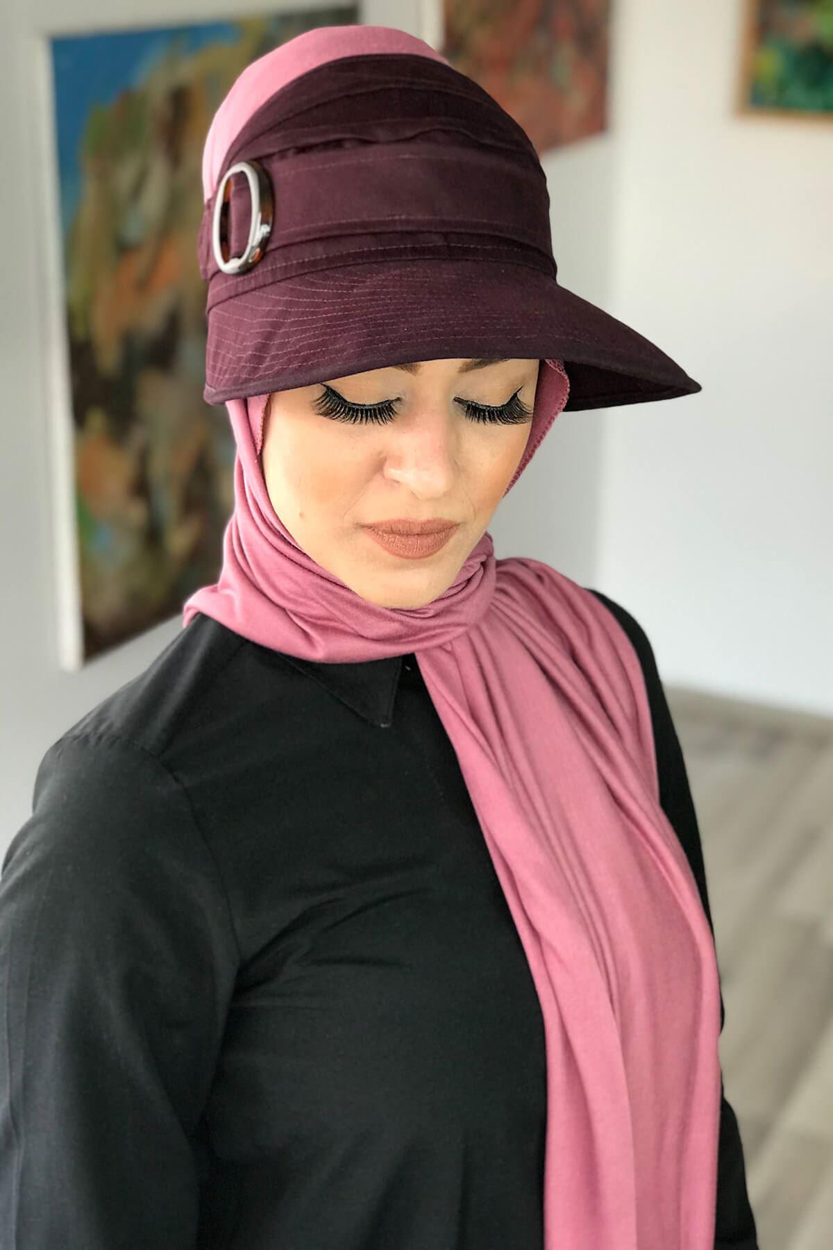 Bordo Spor Tesettür Şapka