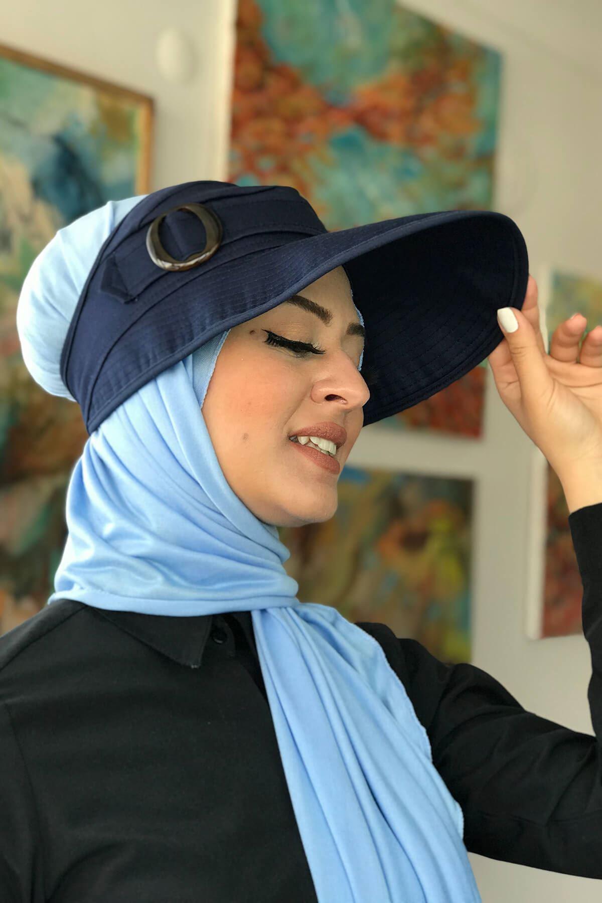 Lacivert Kadın Spor Şapkalı Bone