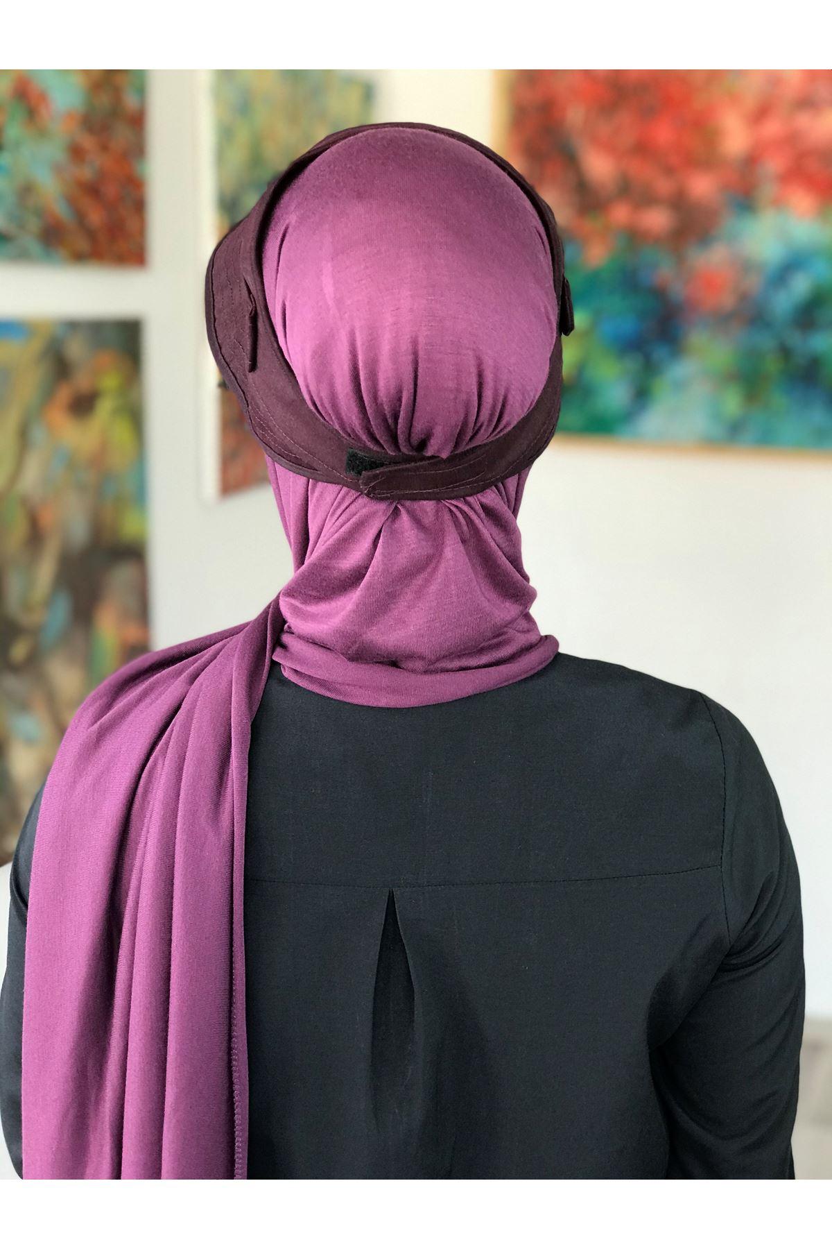 Bordo Tesettür Kadın Spor Şapkalı Bone