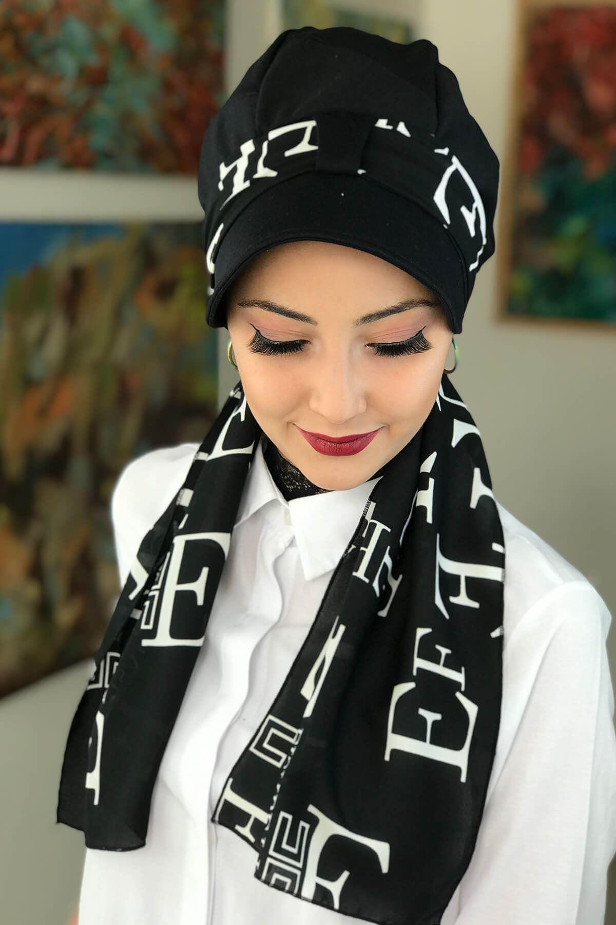 Siyah Tek Biritli Fularlı Şapka Bone