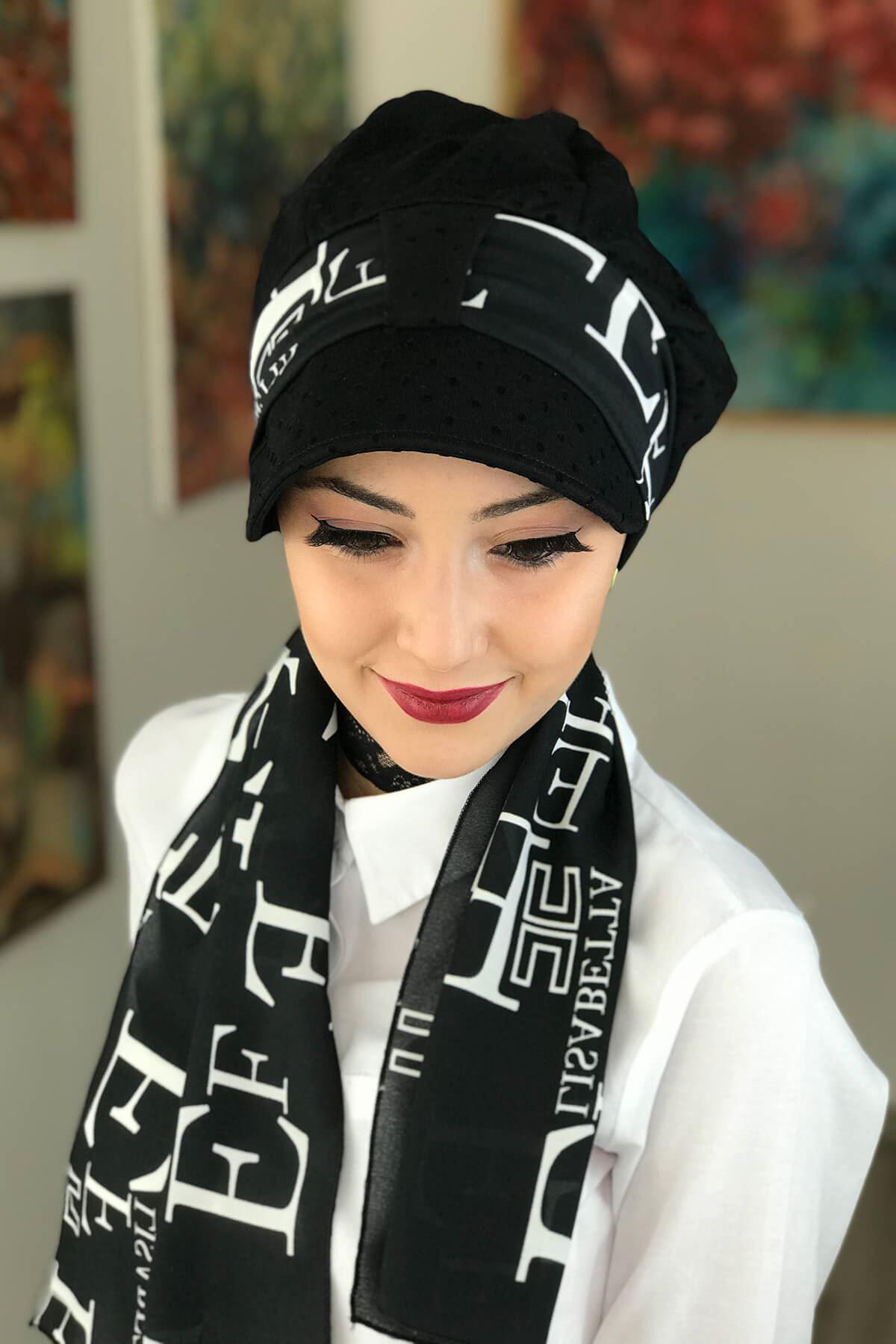 Siyah Puantiyeli Biritli Fularlı Şapka