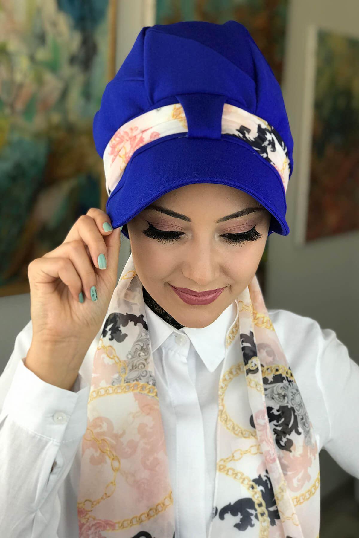Mavi Tek Biritli Tesettür Şapka Bone