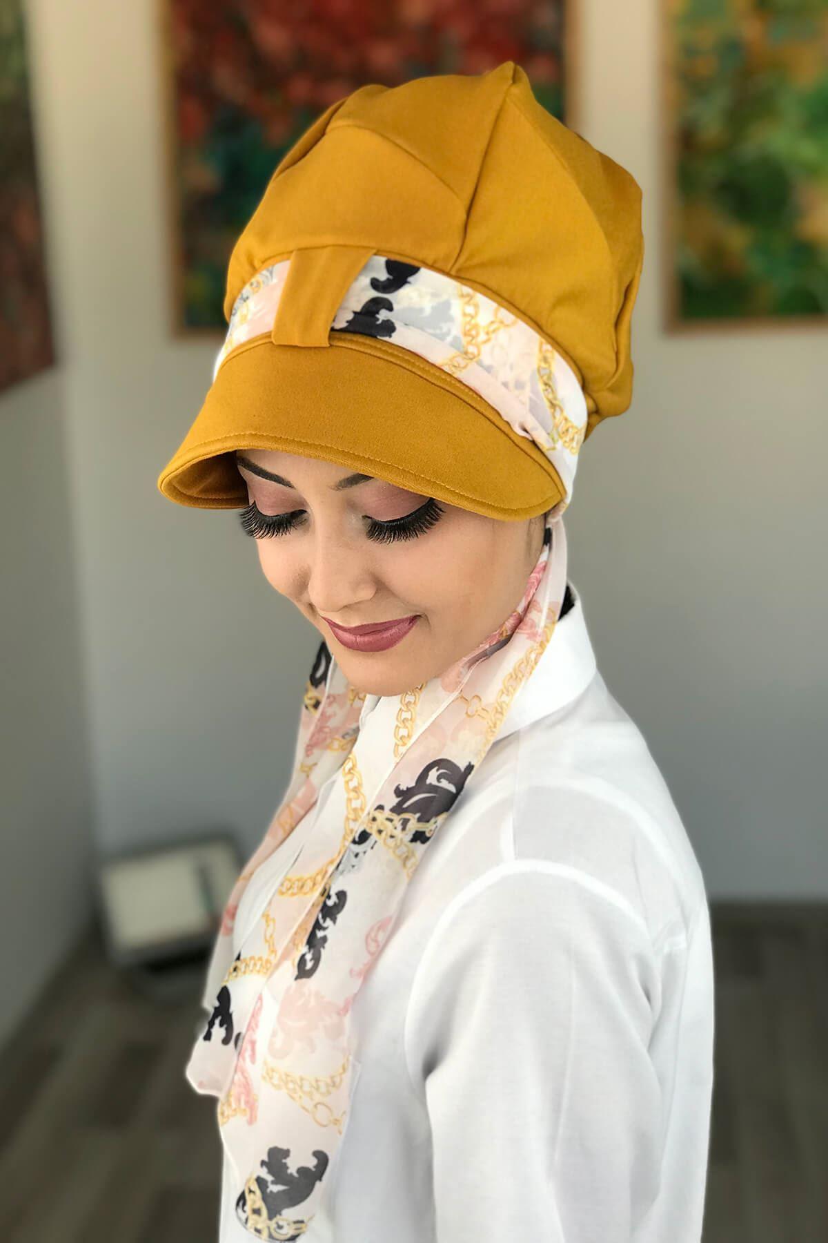 Bal Rengi Tek Biritli Fularlı Şapka Bone