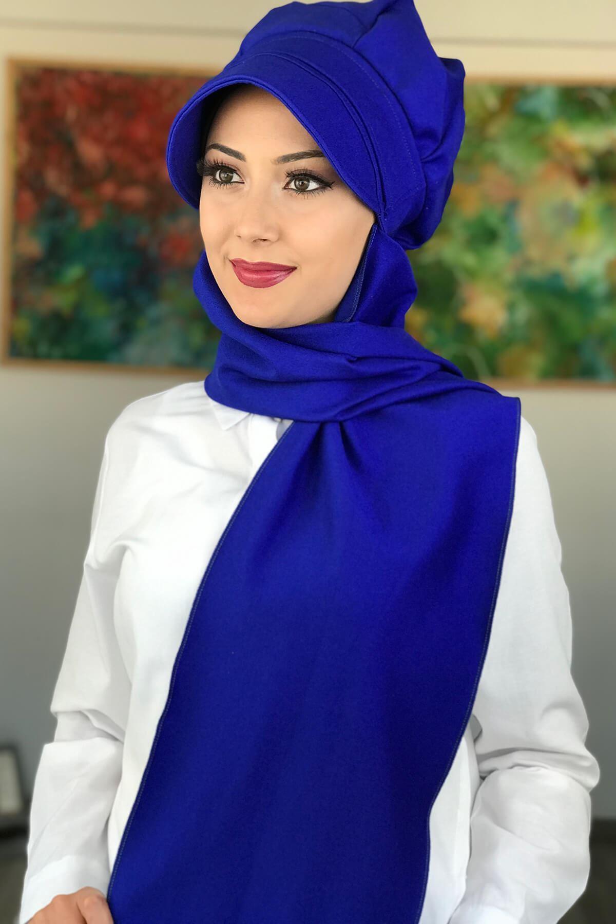 BAHARLIK Saks Mavi Atkılı Tesettür Şapka