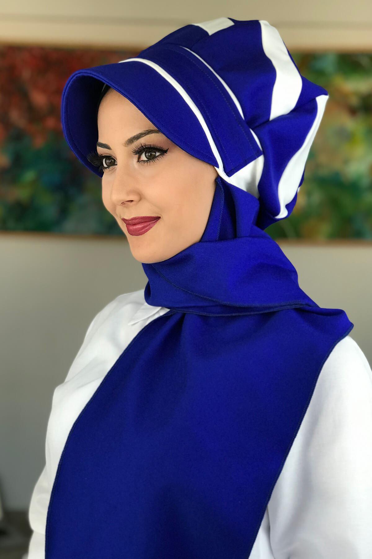 BAHARLIK Saks Mavi Atkılı Şapka