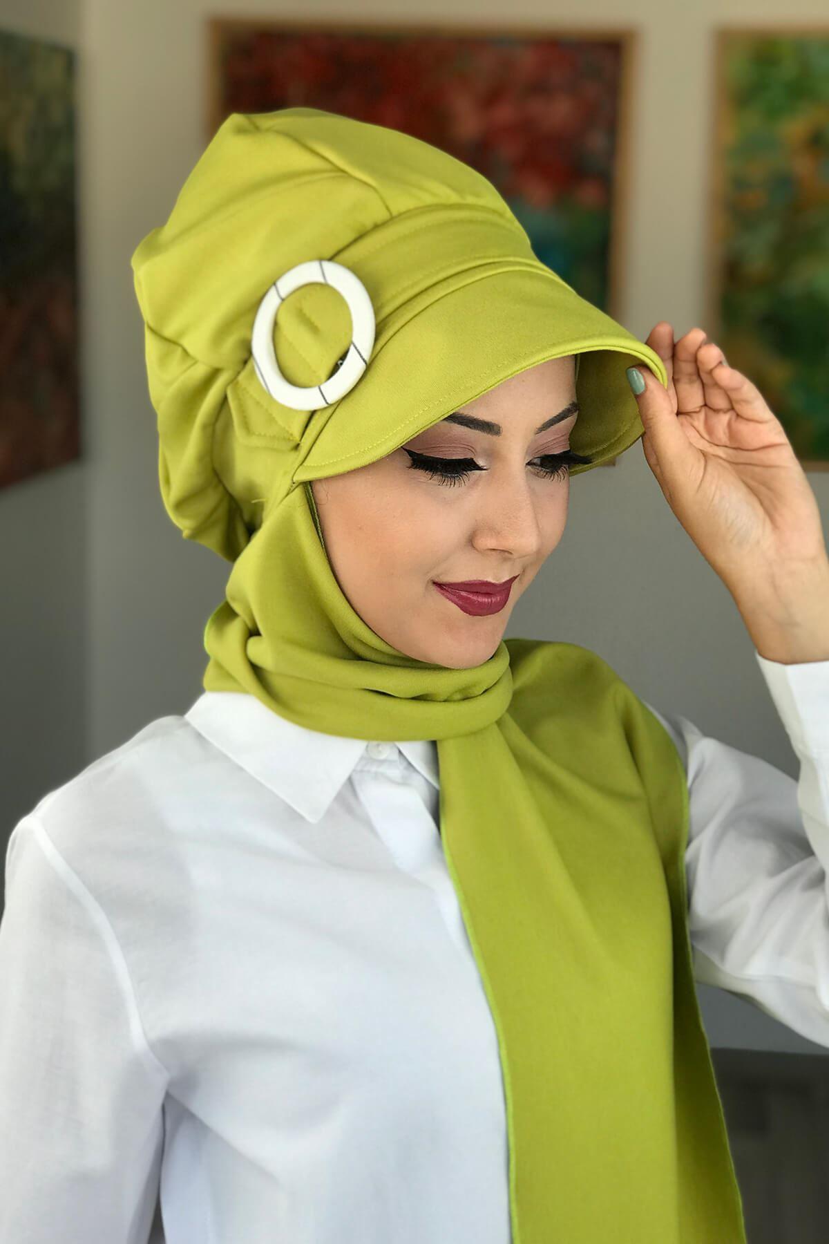 Fıstık Yeşili Atkılı Tesettür Şapka