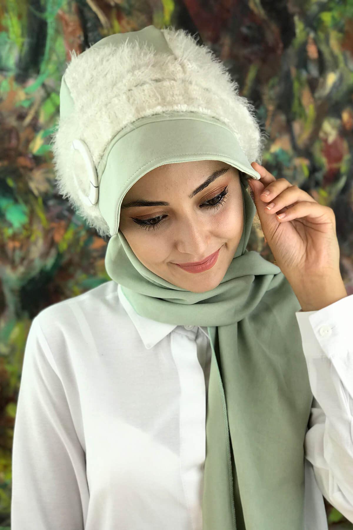 Mint Yeşili Tesettür Kadın Şapka