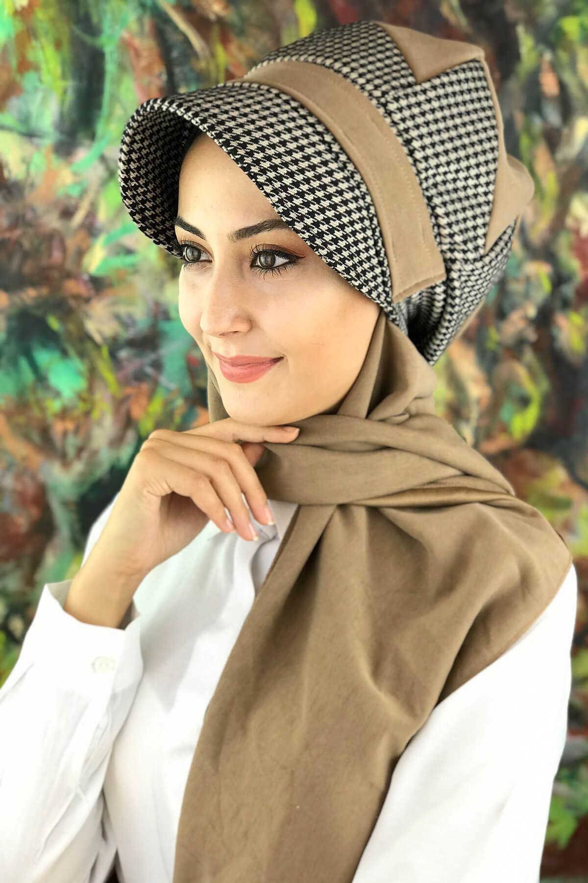 Kahverengi Desenli Tesettür Şapka