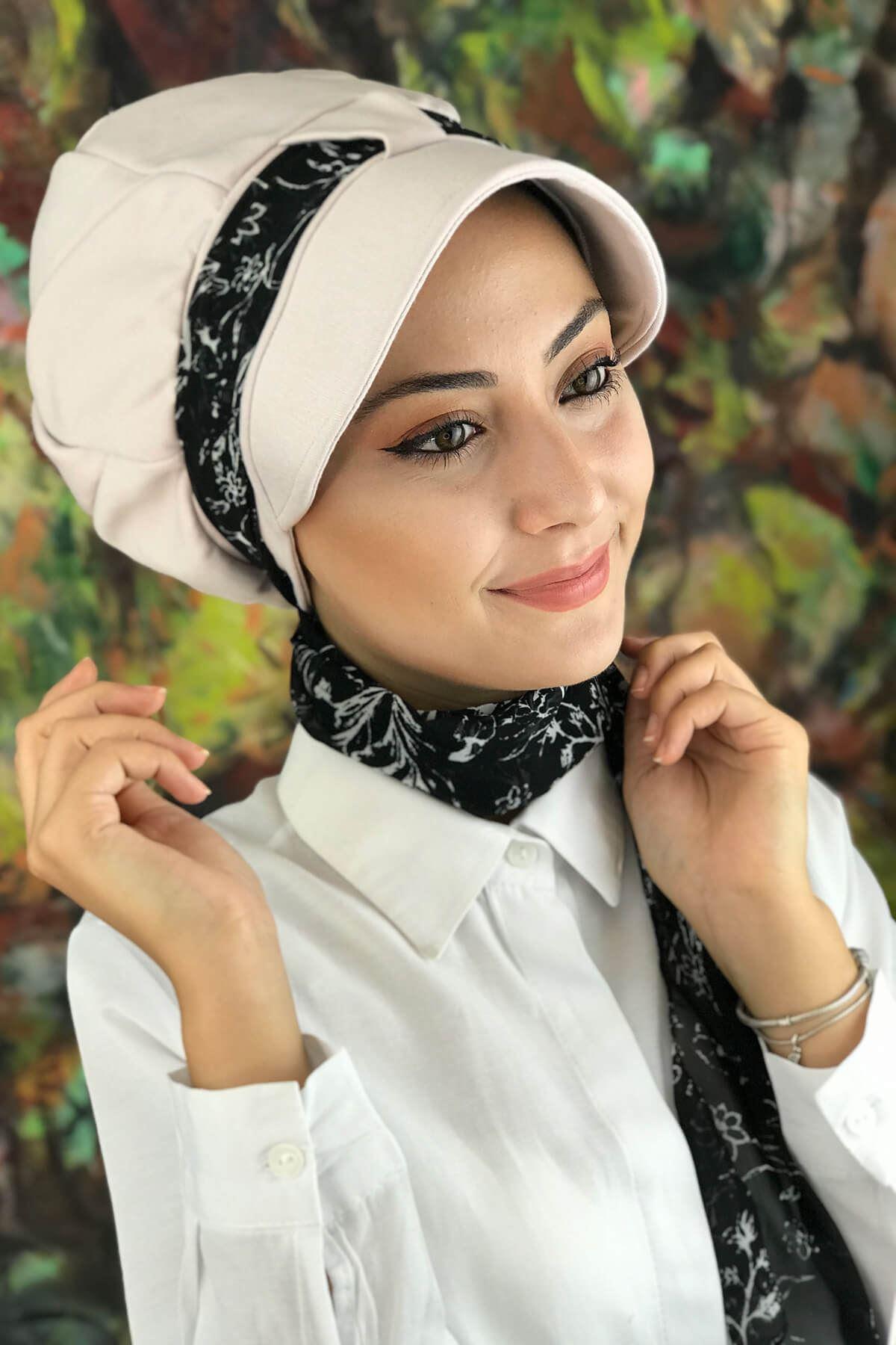 Krem Rengi Biritli Fularlı Şapka