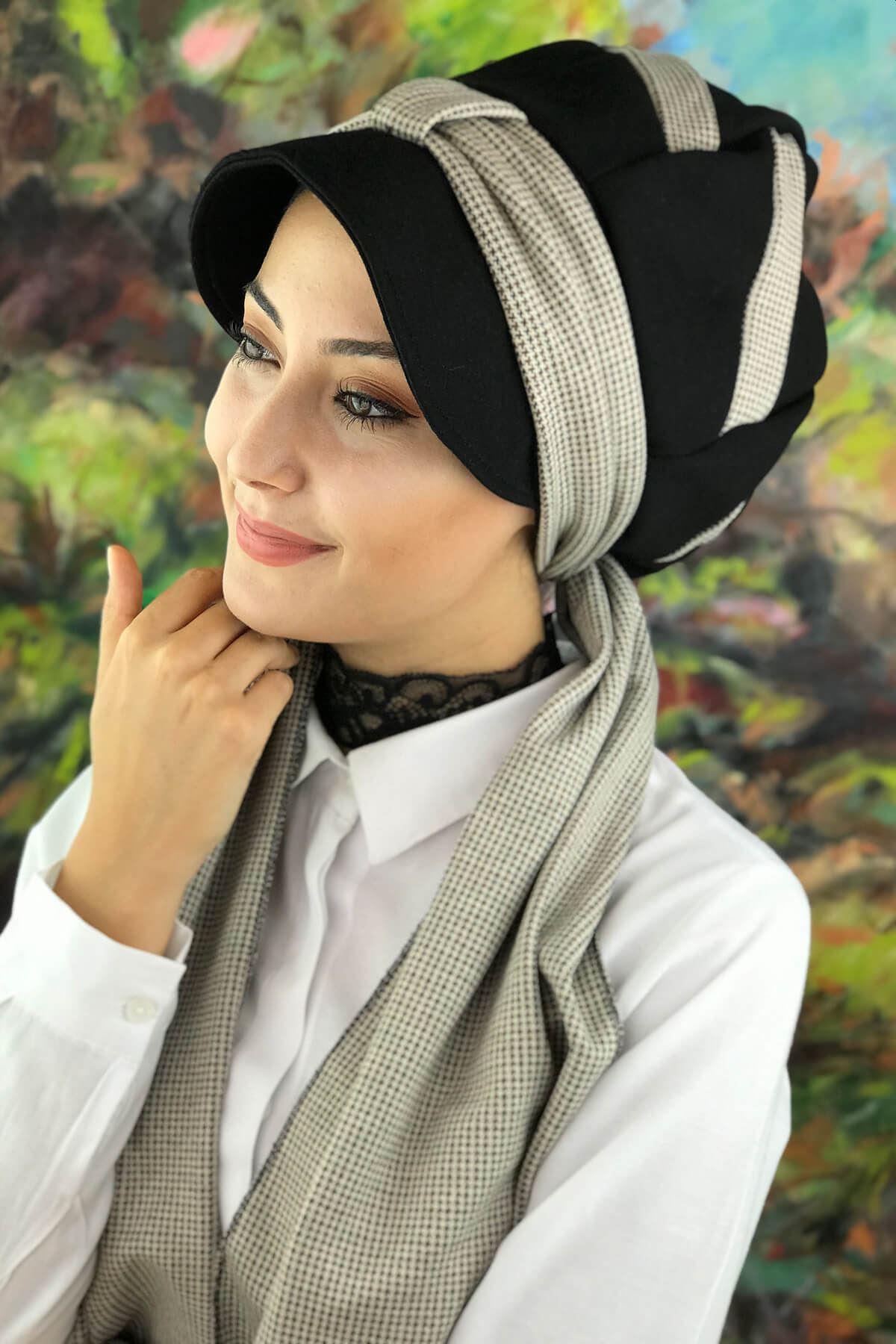 Siyah Biritli Tesettür Şapka