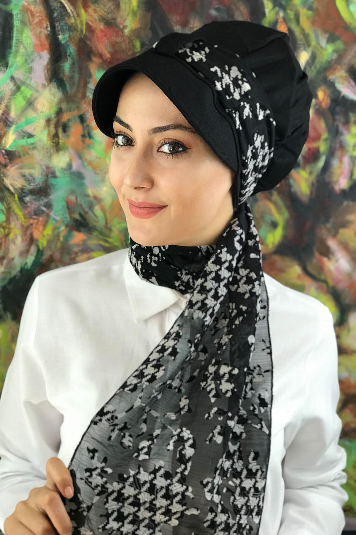 Siyah Biritli Fularlı Tesettür Şapka