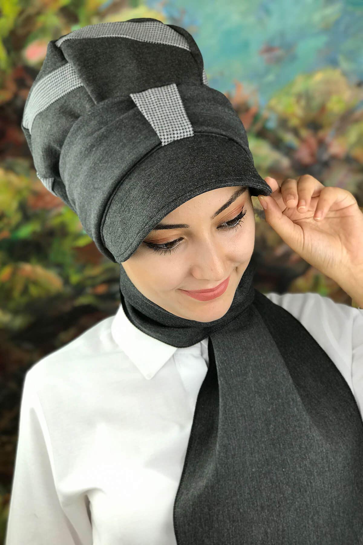 Füme Fularlı Şapka Bone