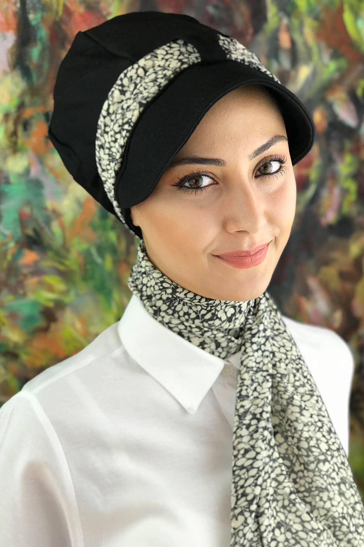 Siyah Tesettür Kadın Şapka