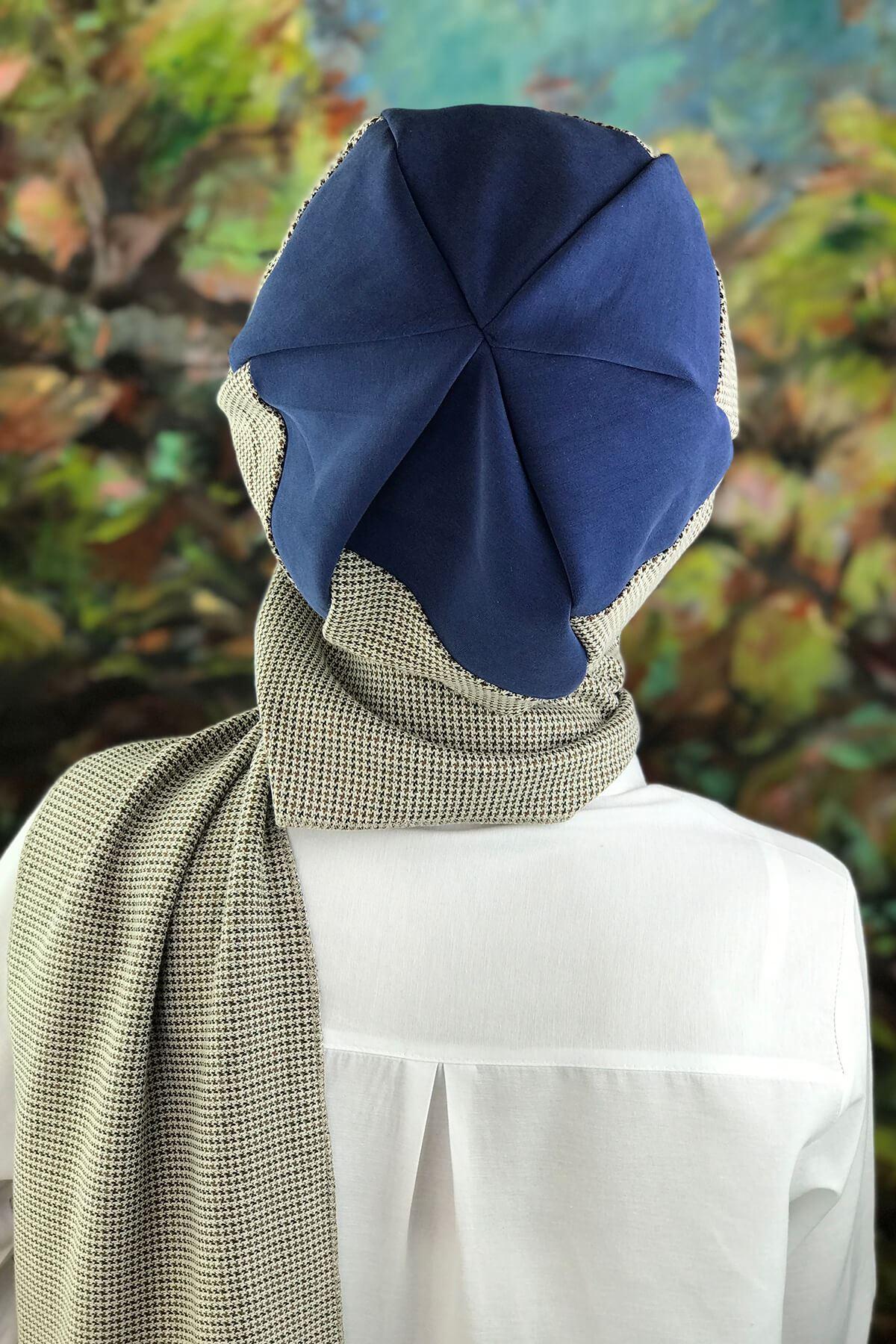 Lacivert Atkılı Tesettür Şapka