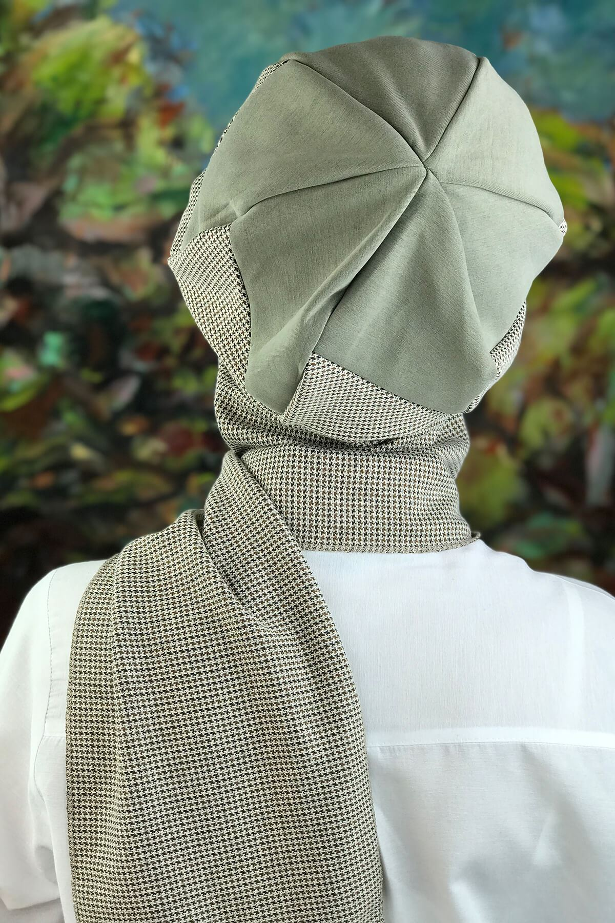 Çağla Yeşili Desenli  Tesettür Şapka