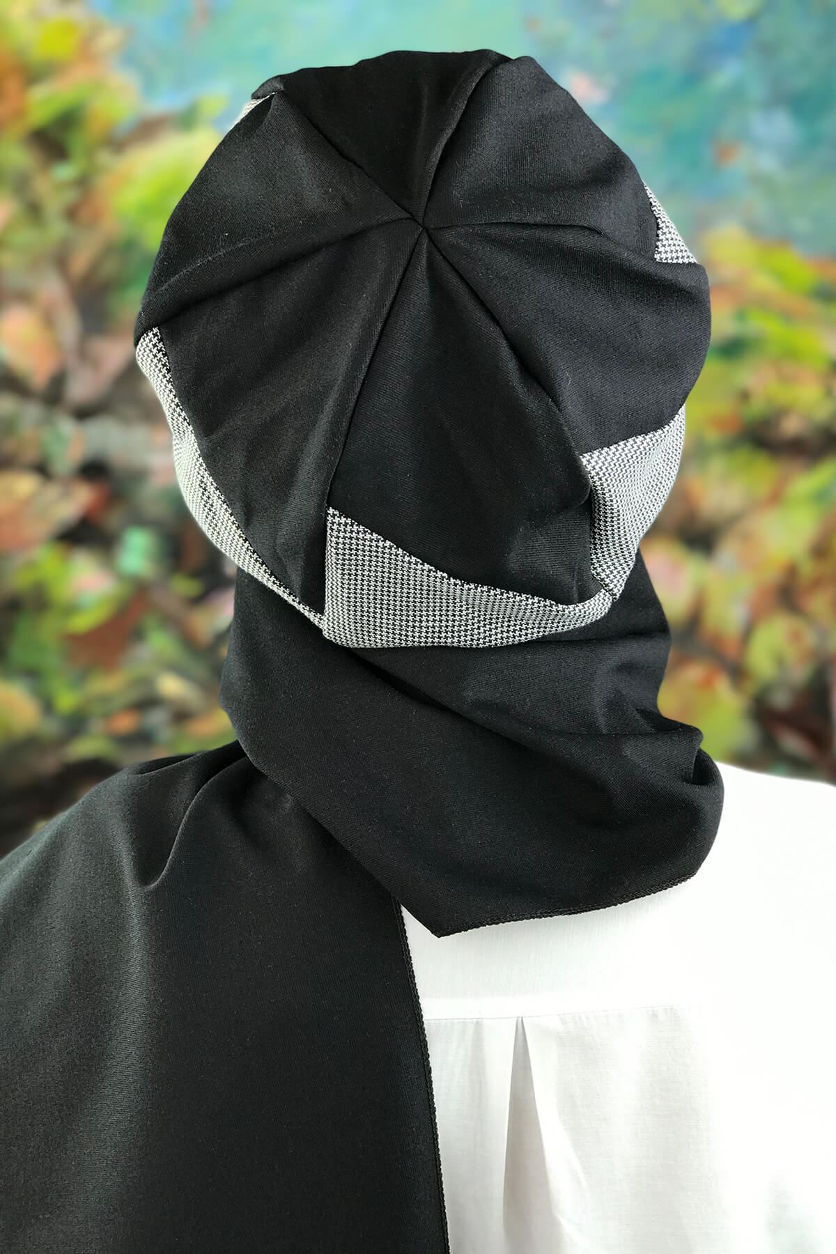 Siyah Desenli Tesettür Kadın Şapka