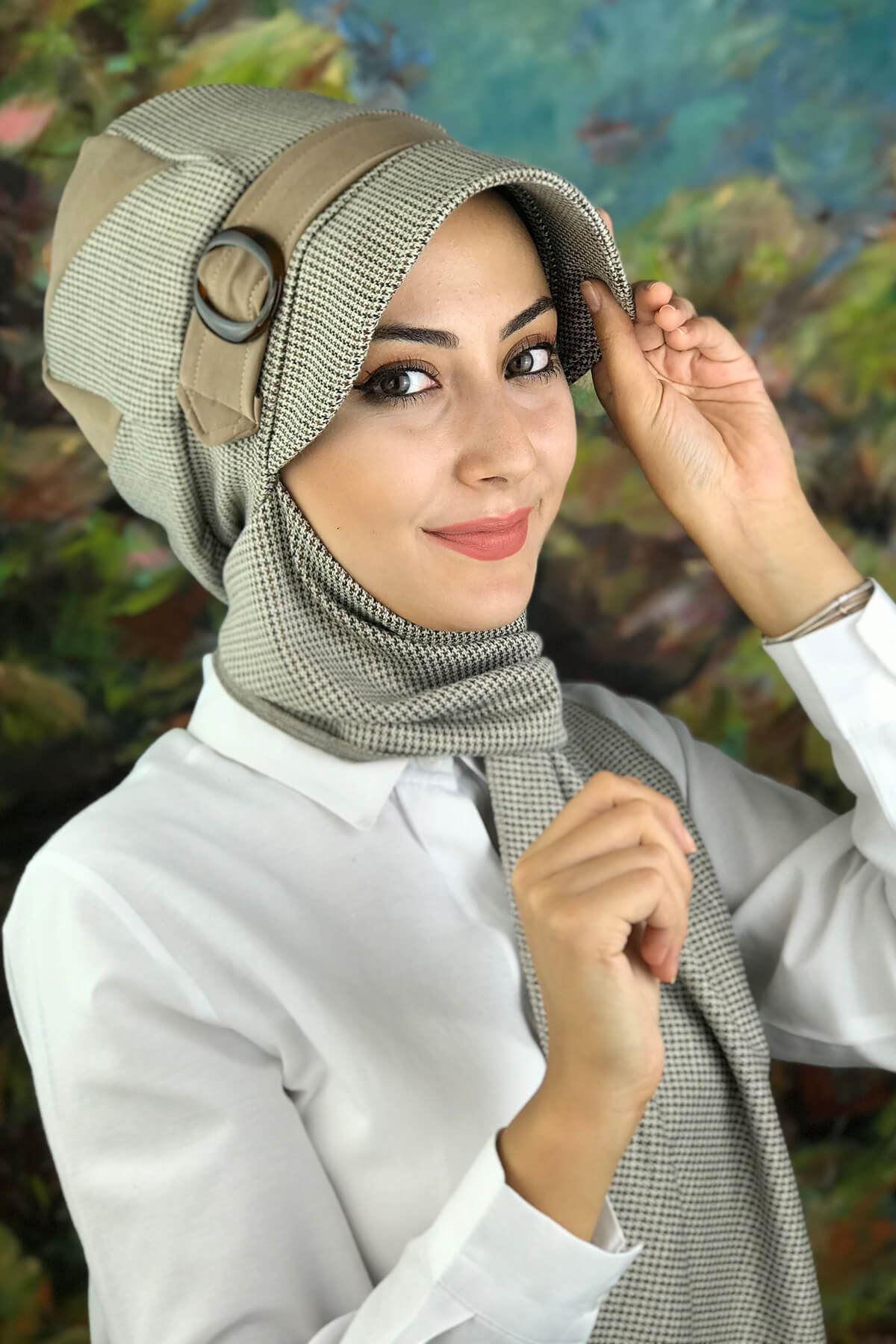 Sütlü Kahve Desenli Kadın Şapka