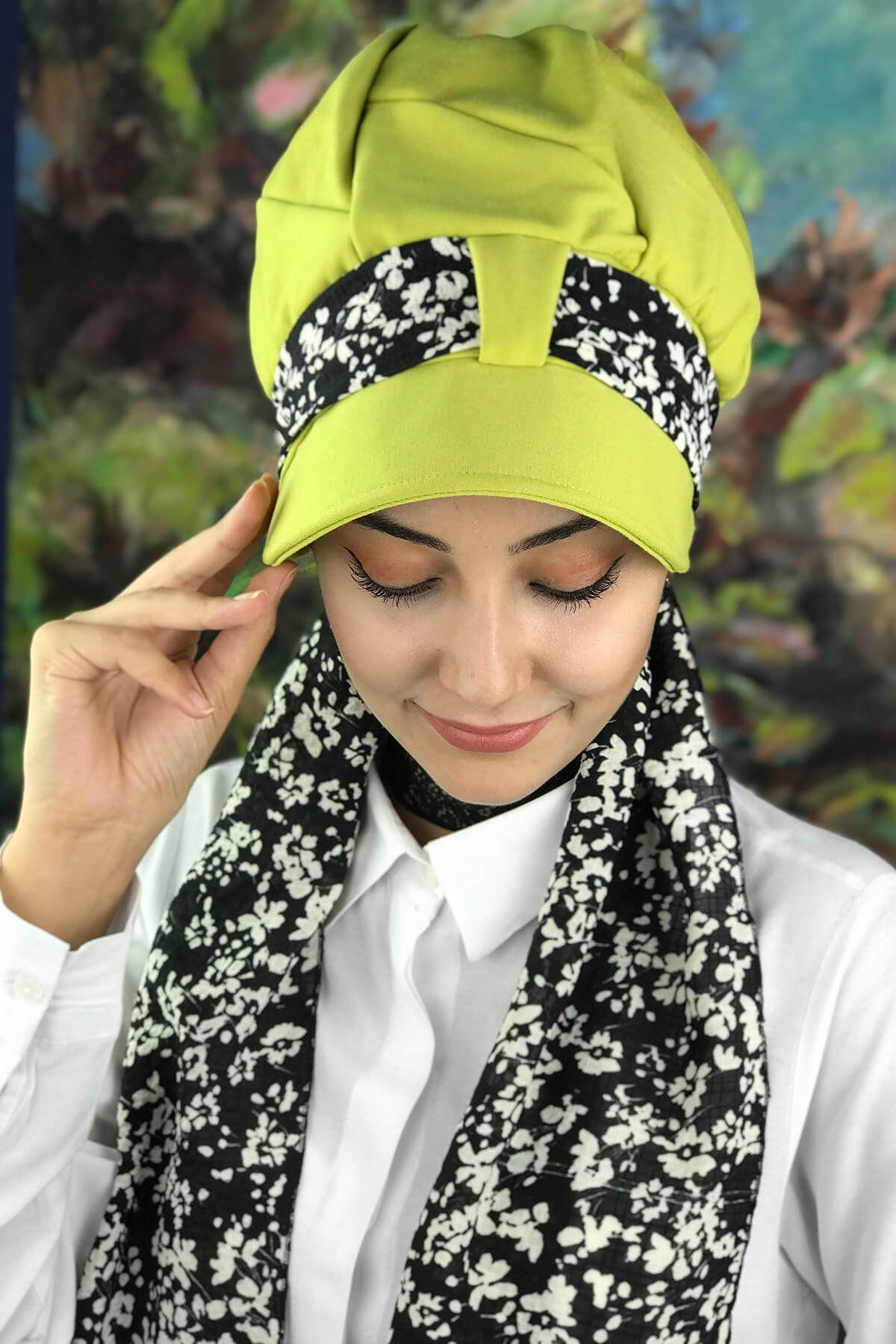 Fıstık Yeşili Tesettür Şapka