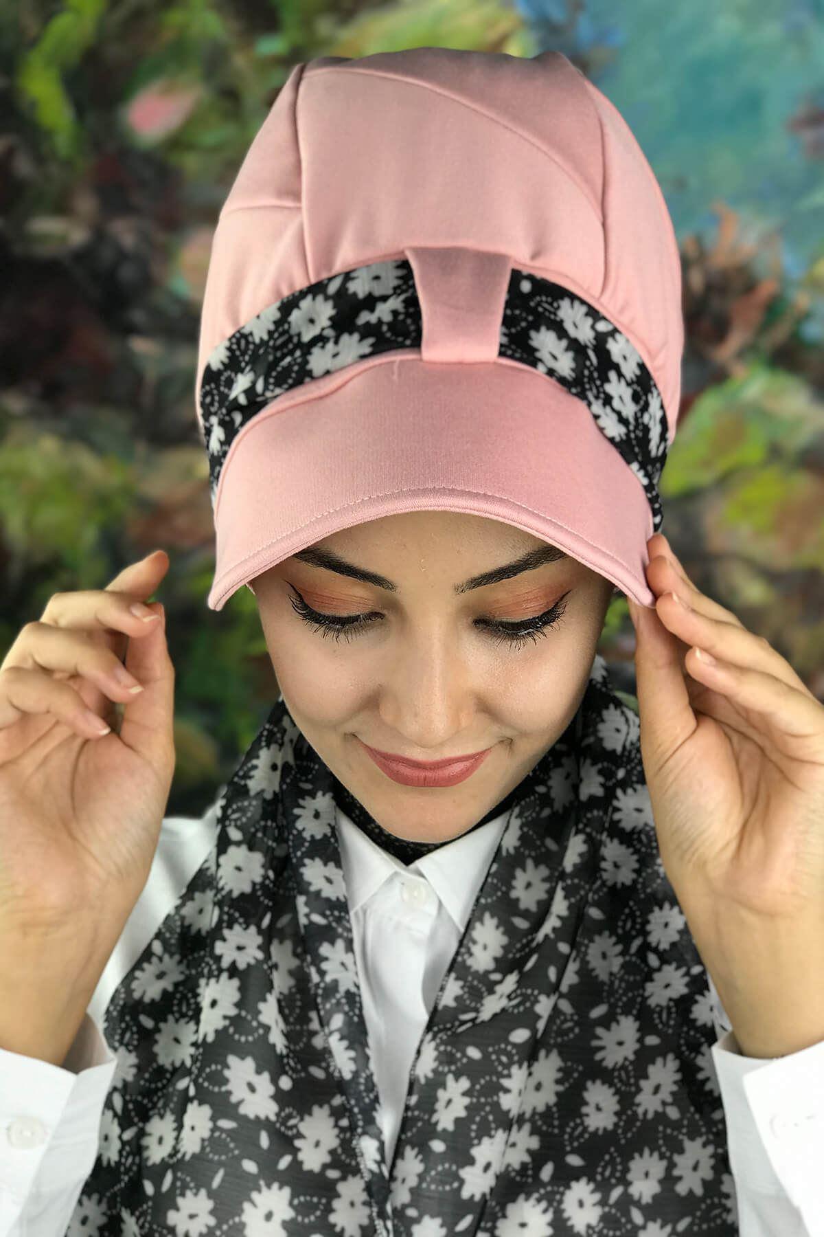 Pudra Rengi Fularlı Şapka