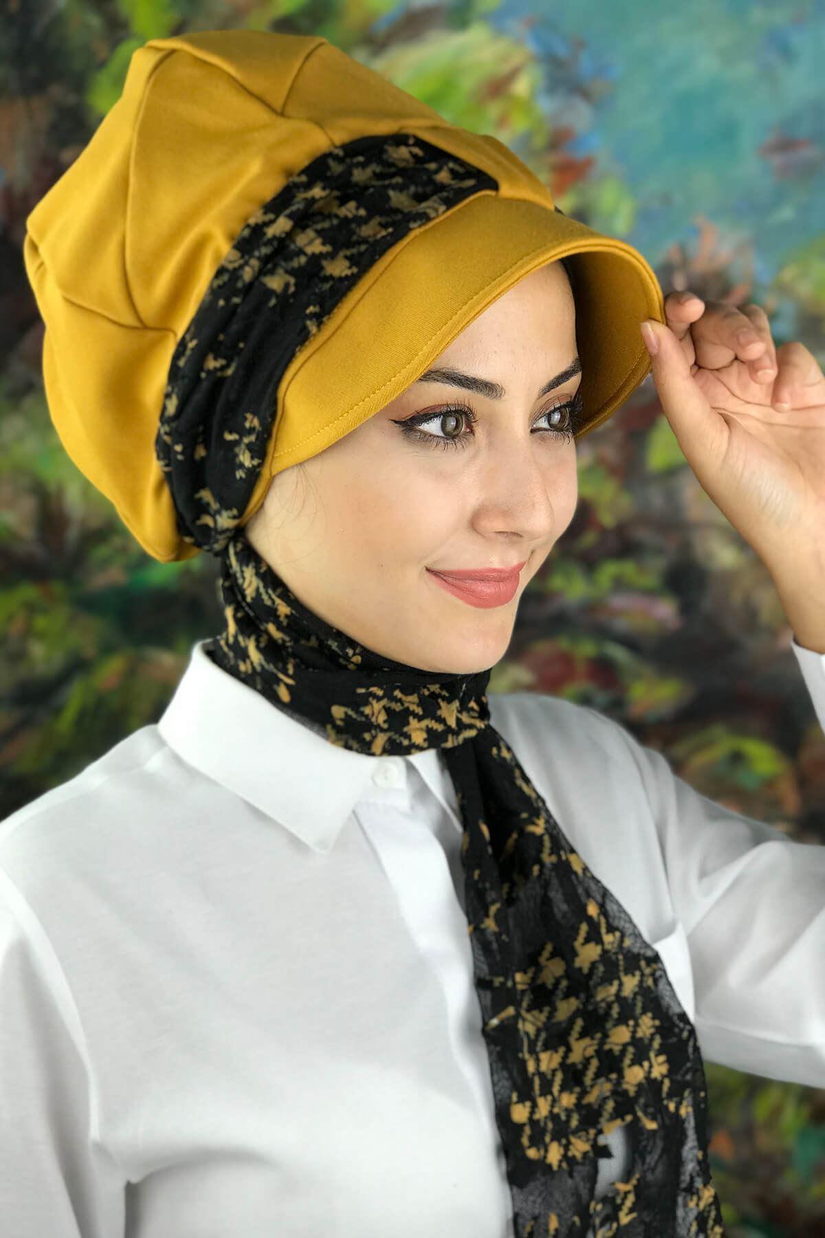 Bal Rengi Tesettür Kadın Şapka