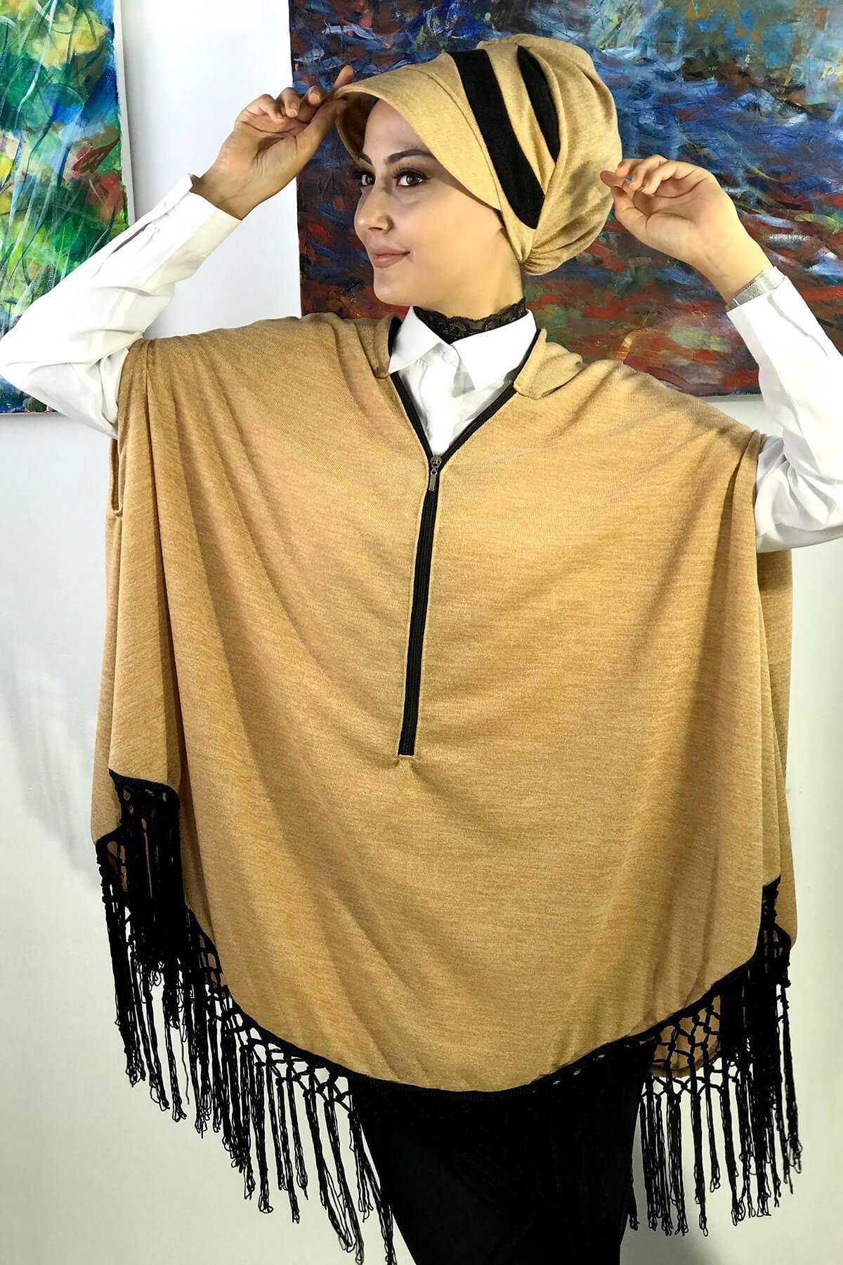 Bal Rengi Şapkalı Panço Takım