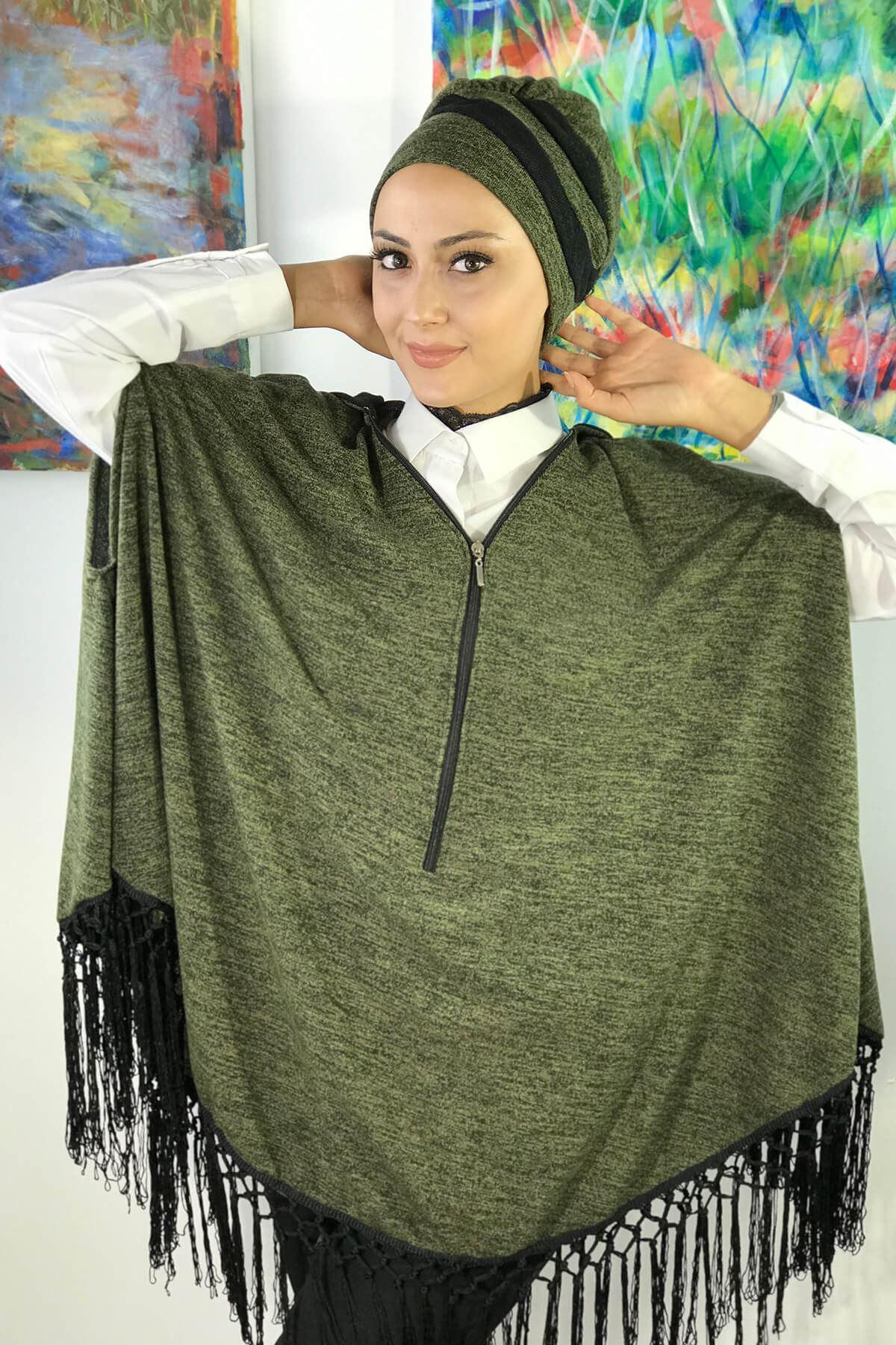 Yeşil Kadın Panço Bone Takım