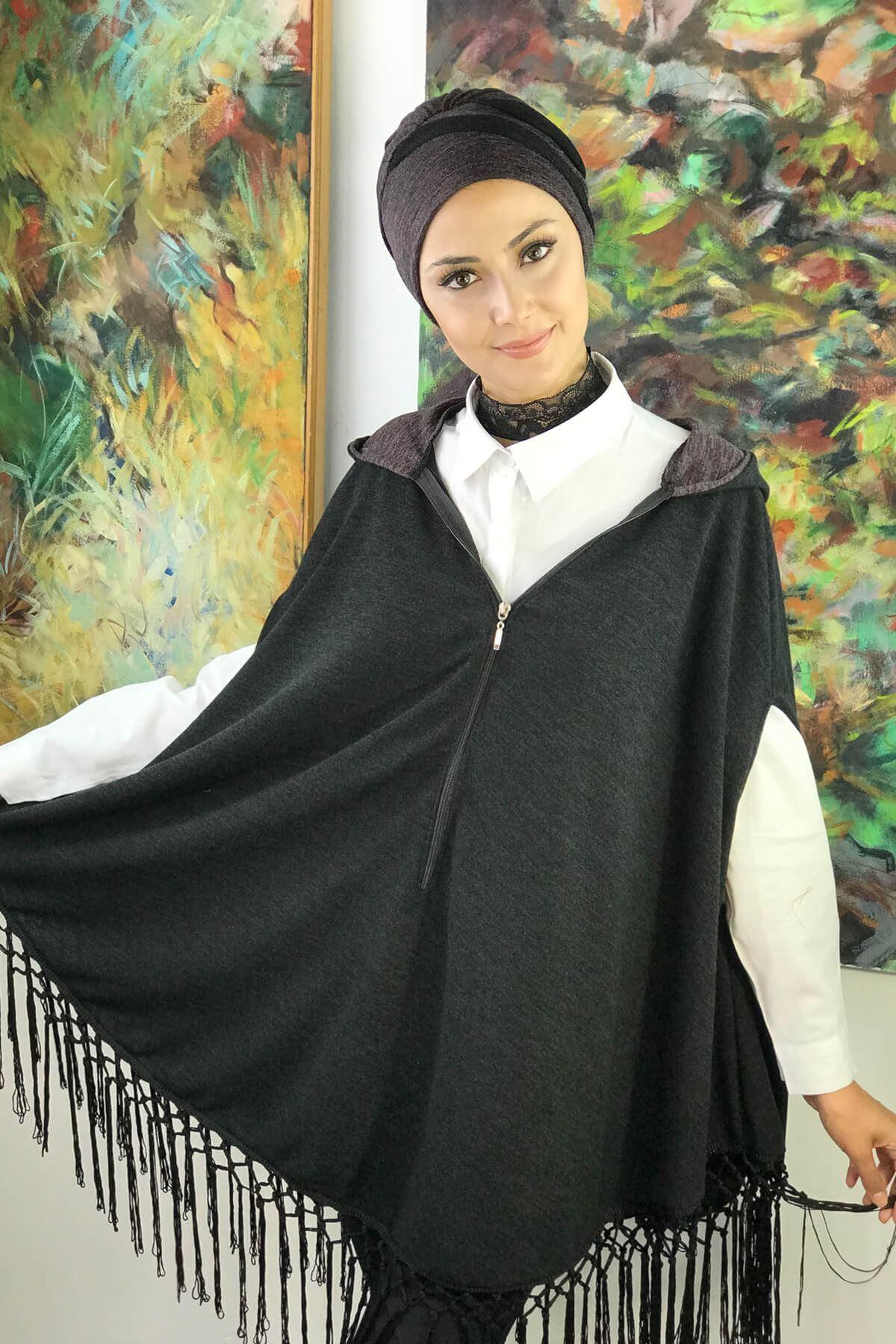 Koyu Gri Kadın Panço & Füme Bone Takım