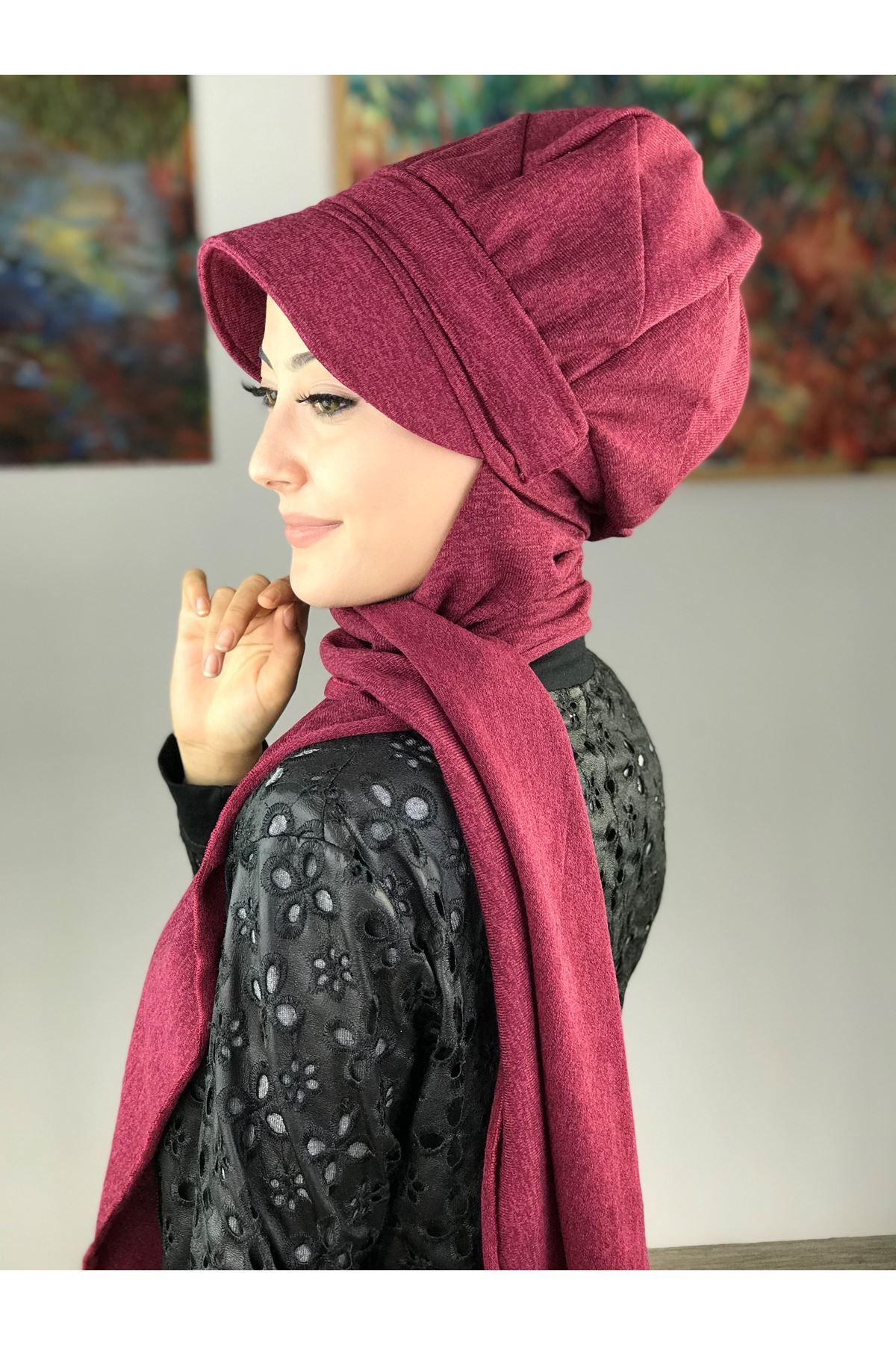 Çarkıfelek Vişne Rengi Tokalı Atkılı Şapka Şal