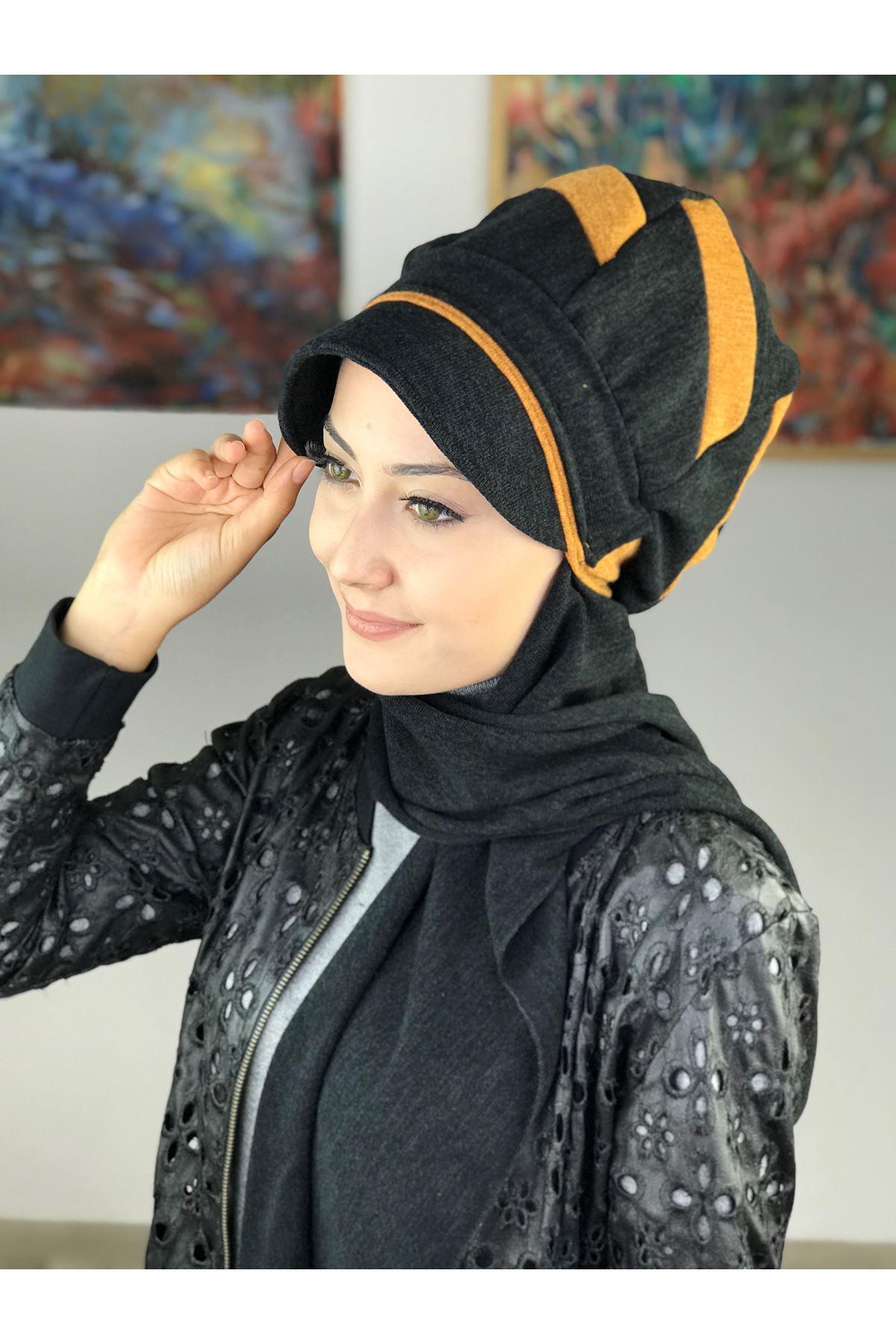 Çarkıfelek Siyah &Hardal Tokalı Atkılı Şapka Şal
